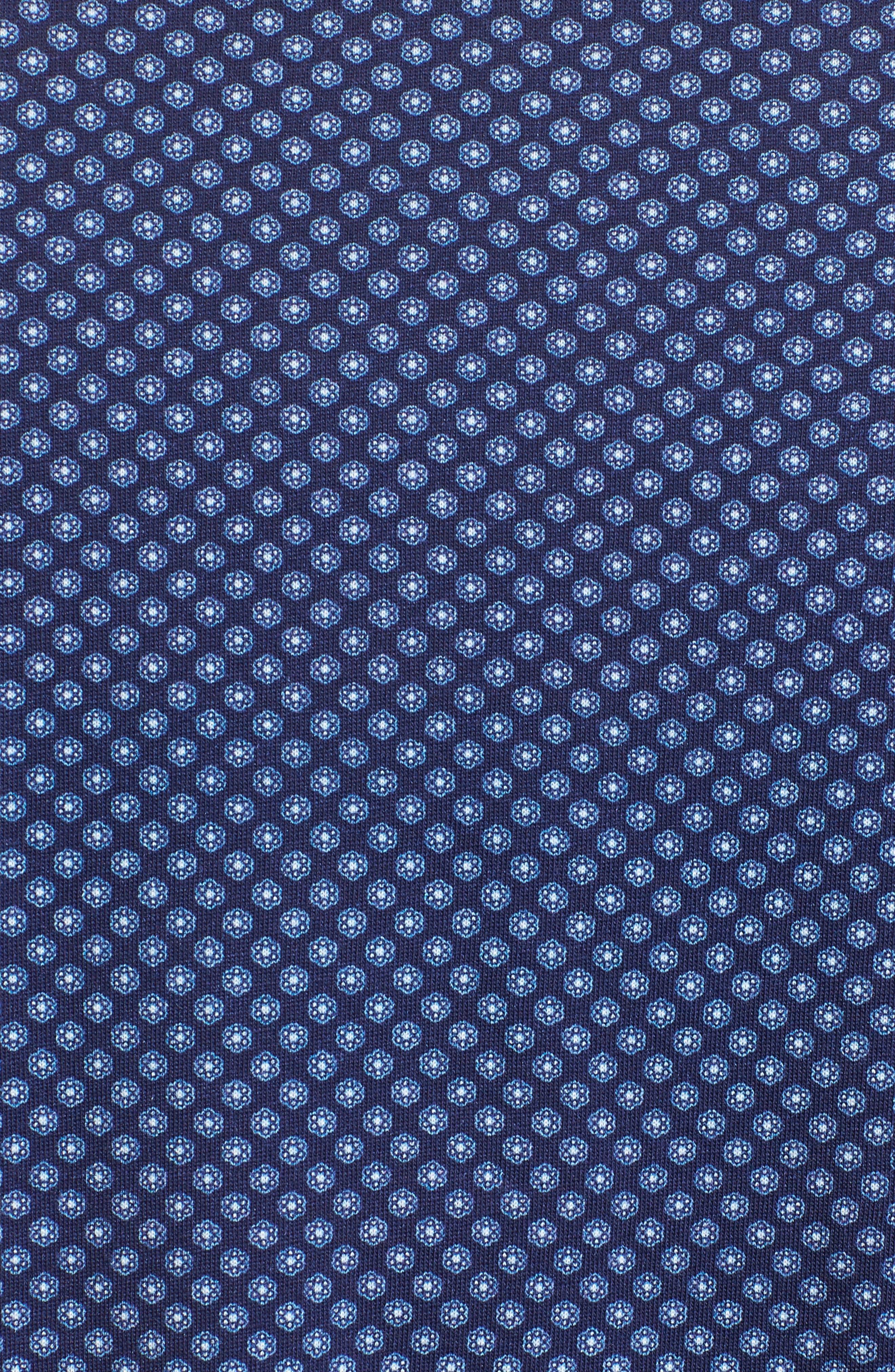 Floral Geo Print Knit Sport Shirt,                             Alternate thumbnail 5, color,
