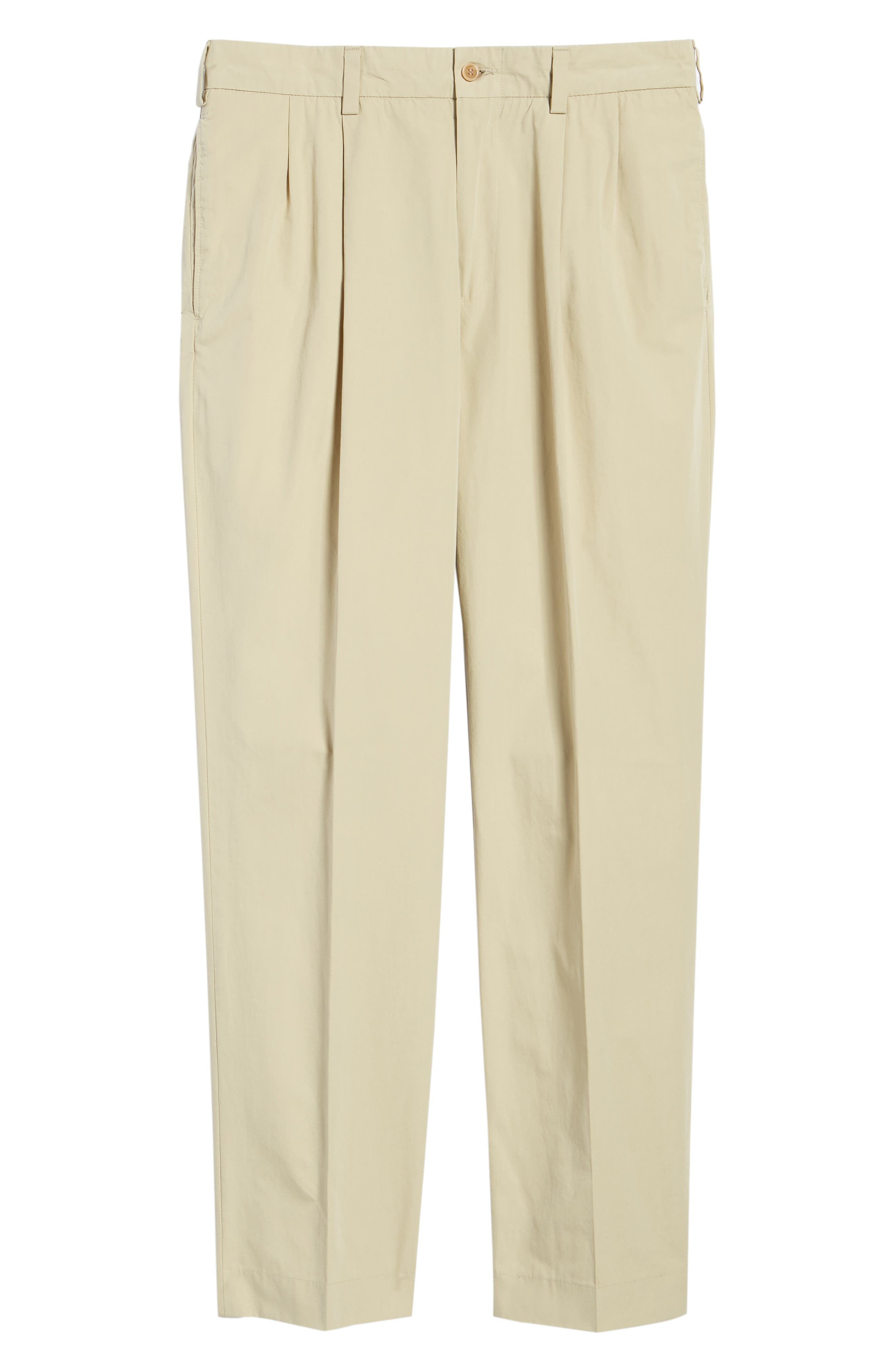Classic Fit Pleated Tropical Poplin Pants,                             Alternate thumbnail 6, color,                             KHAKI