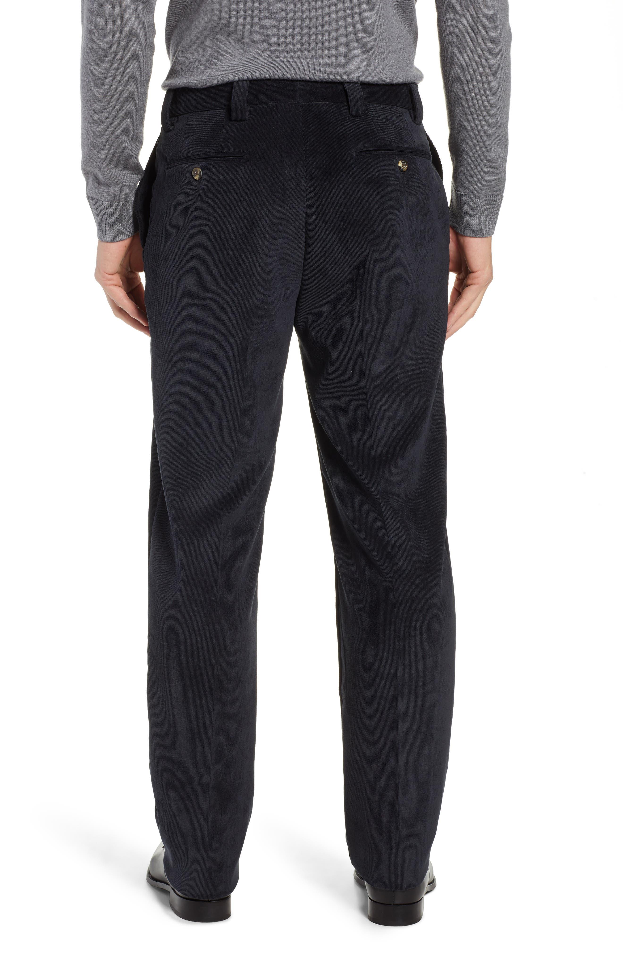 Classic Fit Flat Front Corduroy Trousers,                             Alternate thumbnail 2, color,                             BLACK