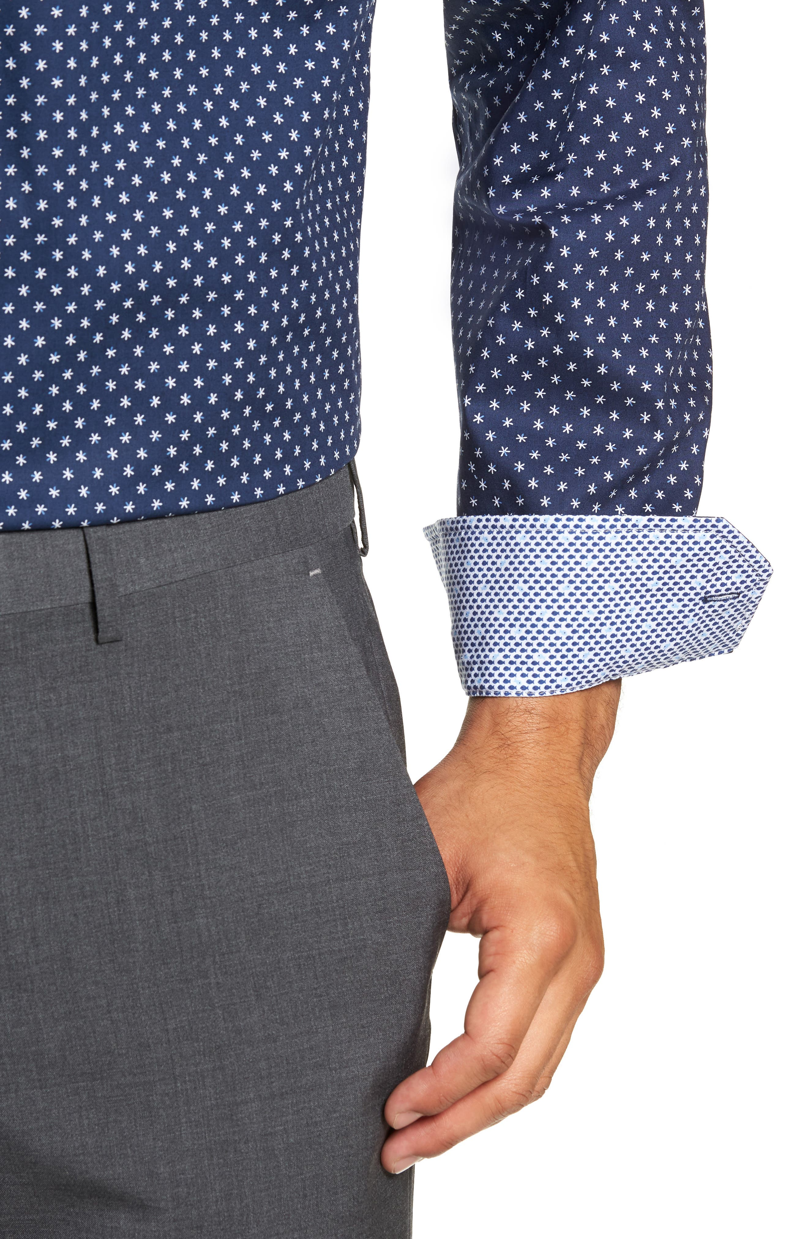 Trim Fit Print Dress Shirt,                             Alternate thumbnail 2, color,                             NAVY