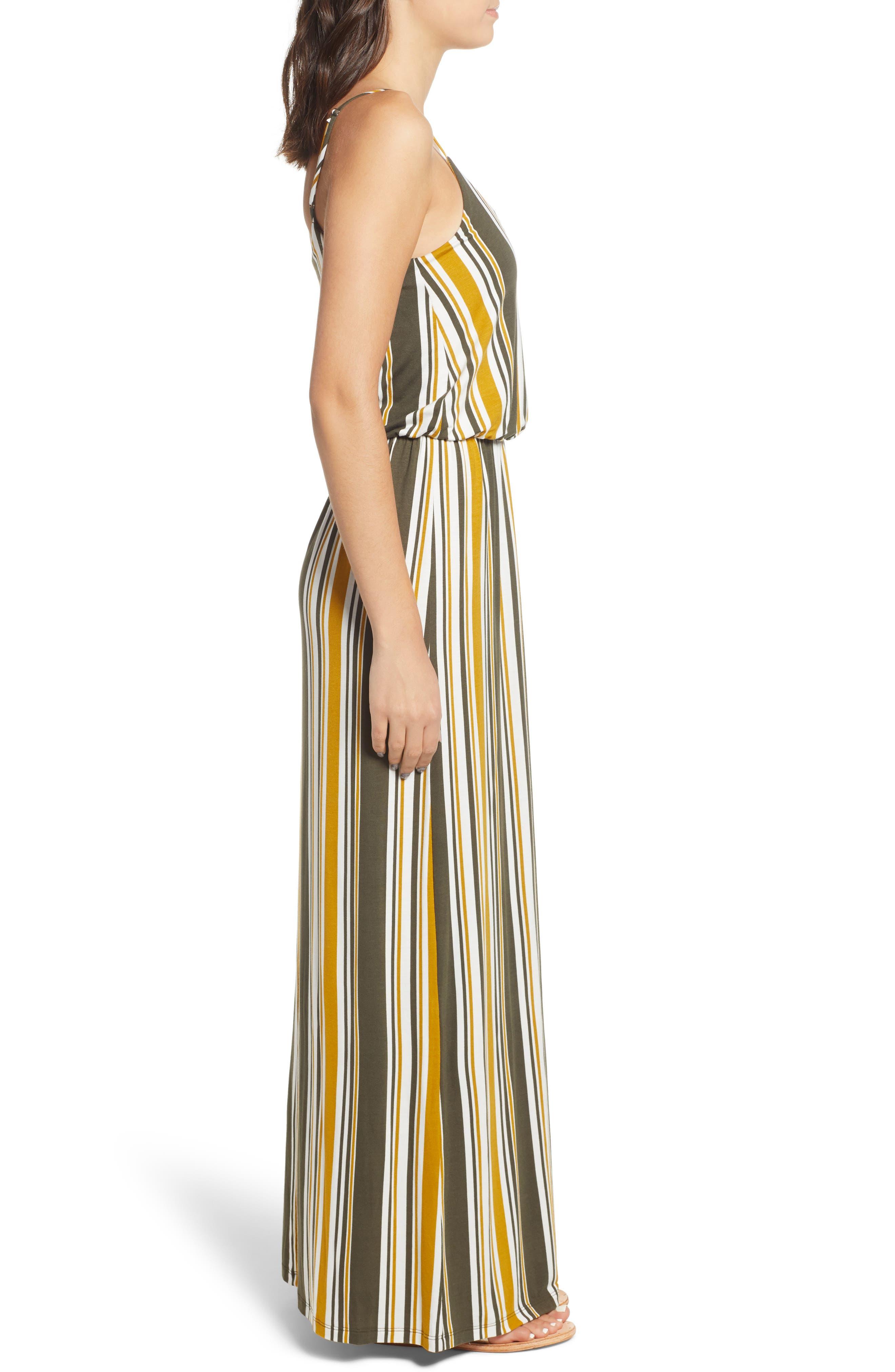 Knit Maxi Dress,                             Alternate thumbnail 3, color,                             ARMY GREEN/ MUSTARD