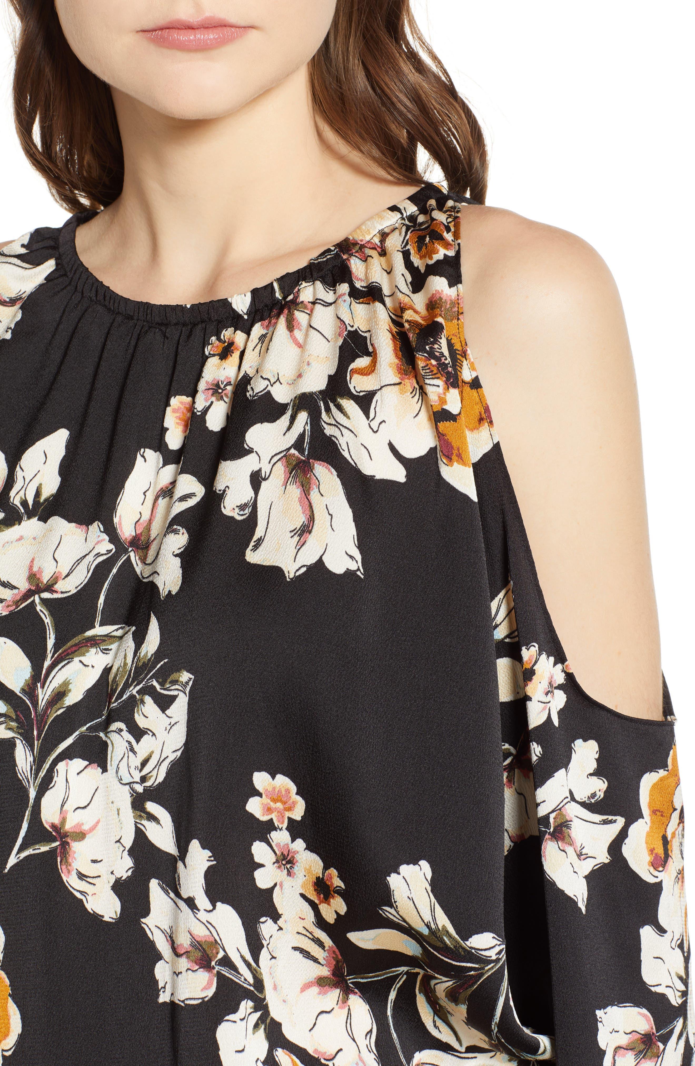 Bishop + Young Cold Shoulder Mini Dress,                             Alternate thumbnail 4, color,                             BLACK