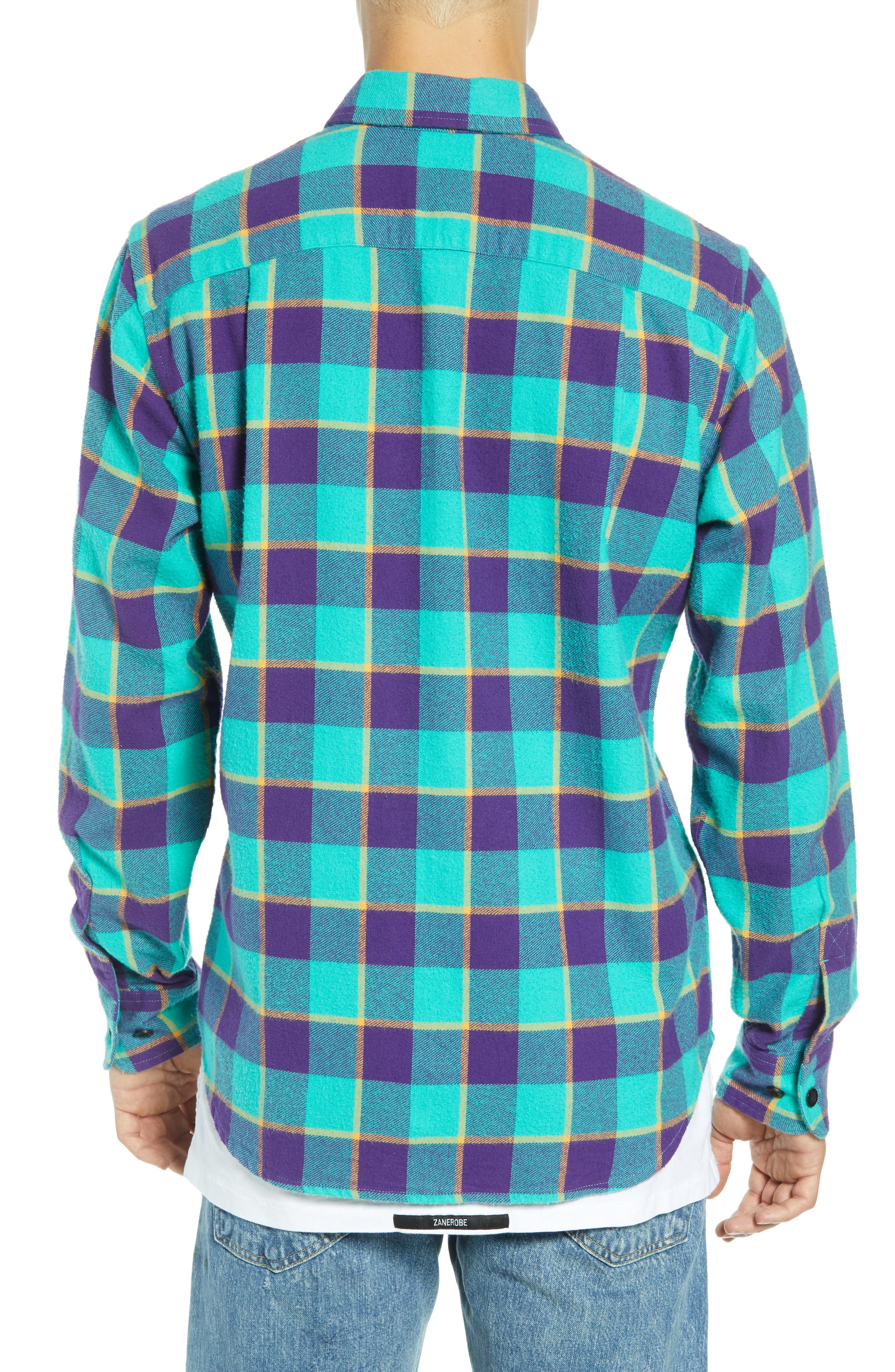 Ventura Plaid Flannel Shirt,                             Alternate thumbnail 3, color,                             TEAL MULTI