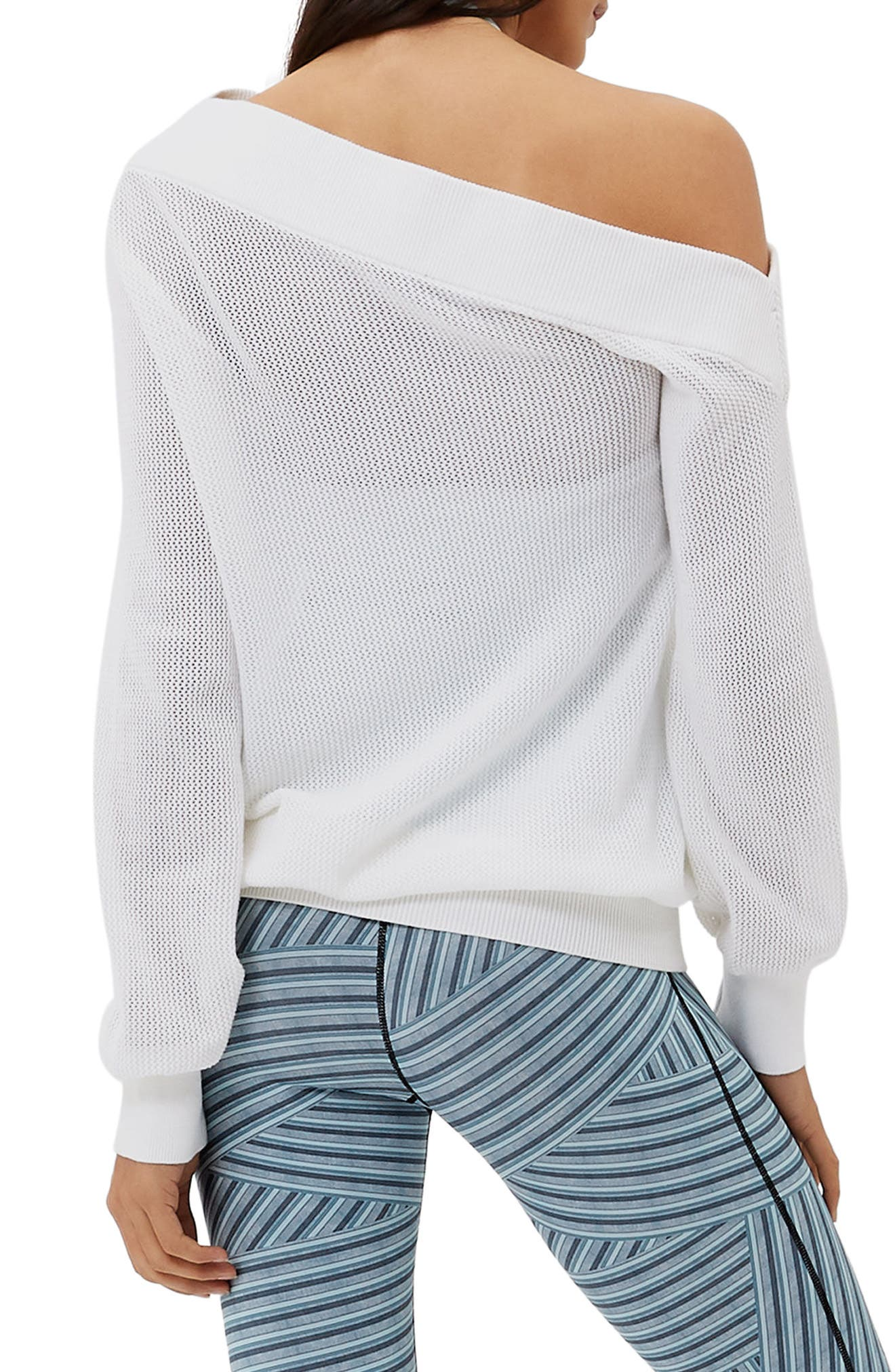 Sweat Betty Enliven One-Shoulder Sweater,                             Alternate thumbnail 2, color,                             WHITE