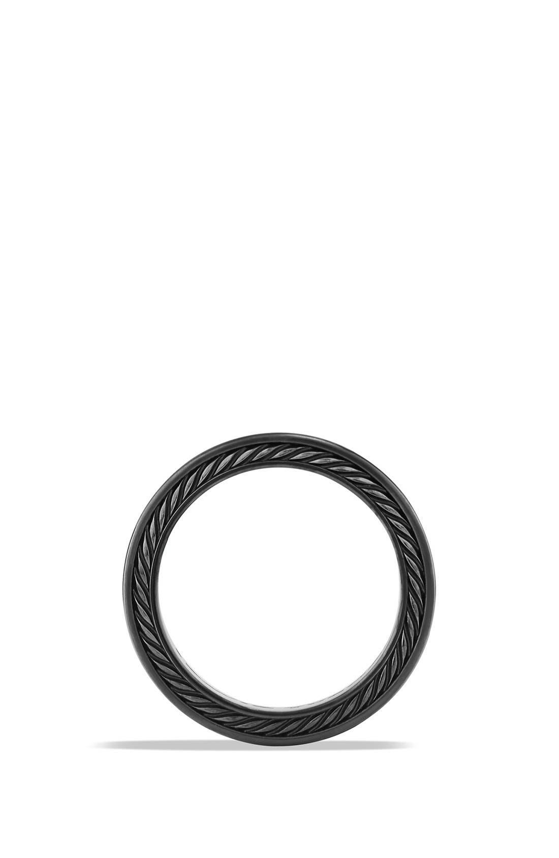 DAVID YURMAN,                             'Streamline' Pavé Three Row Ring in Black Titanium,                             Alternate thumbnail 2, color,                             GREY SAPPHIRE