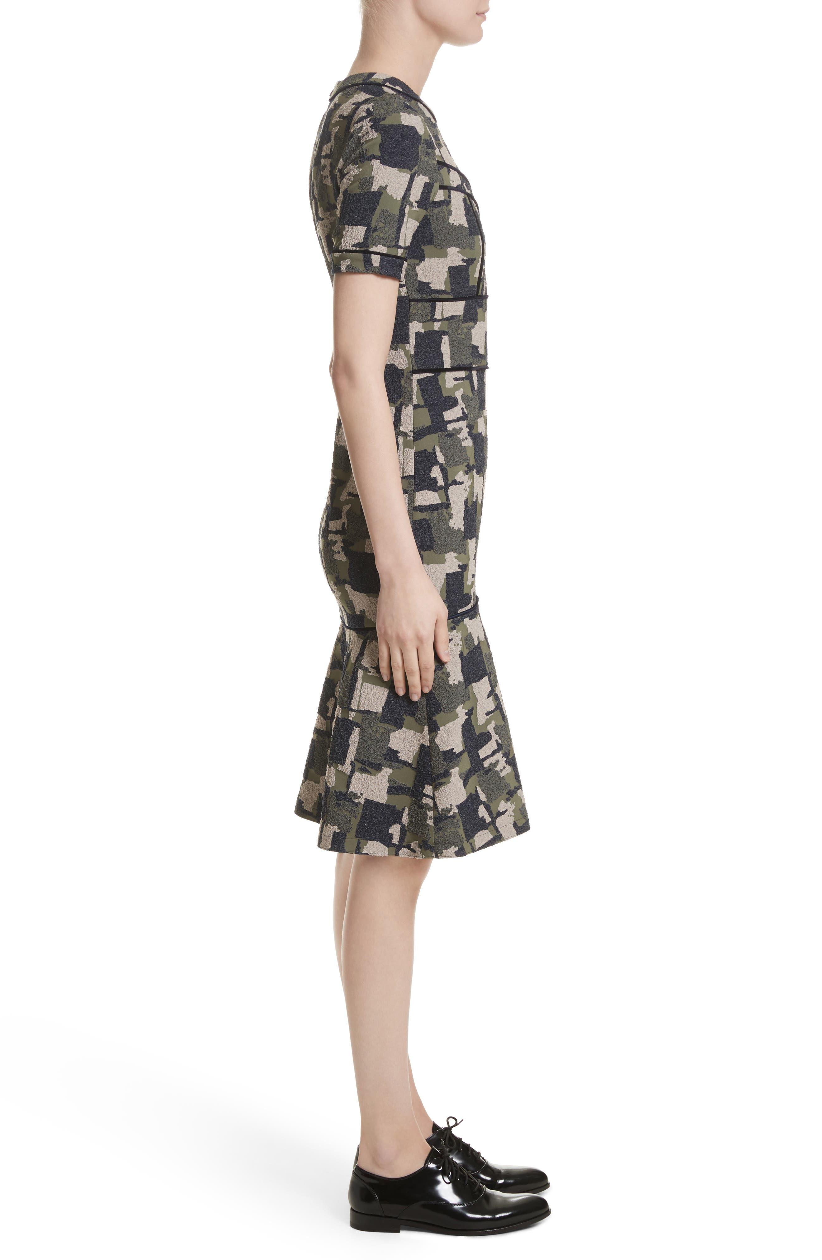 Patchwork Stretch Jacquard Dress,                             Alternate thumbnail 3, color,