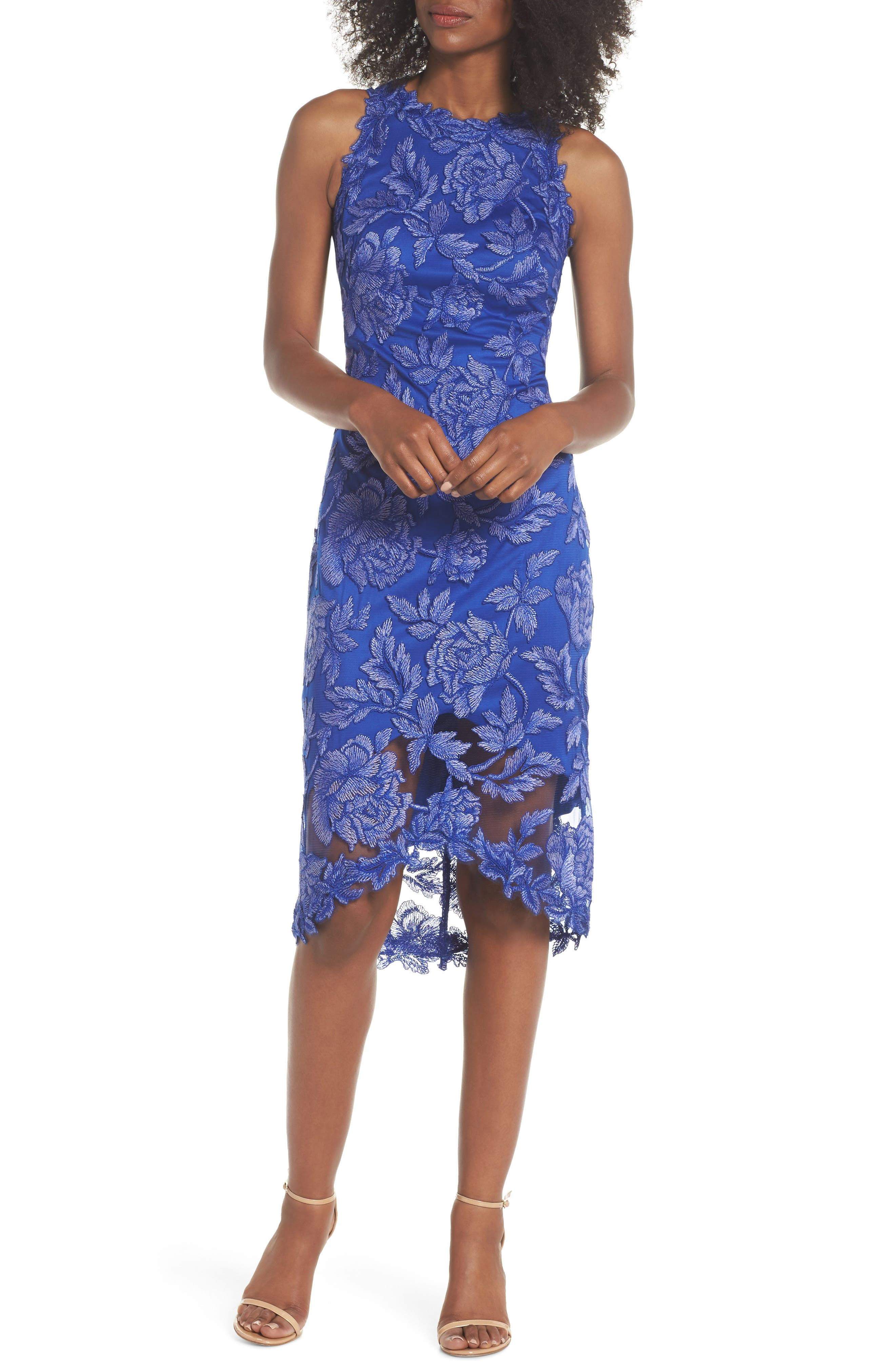 Embroidered Floral Sheath Dress,                             Main thumbnail 1, color,                             BLUE LILY