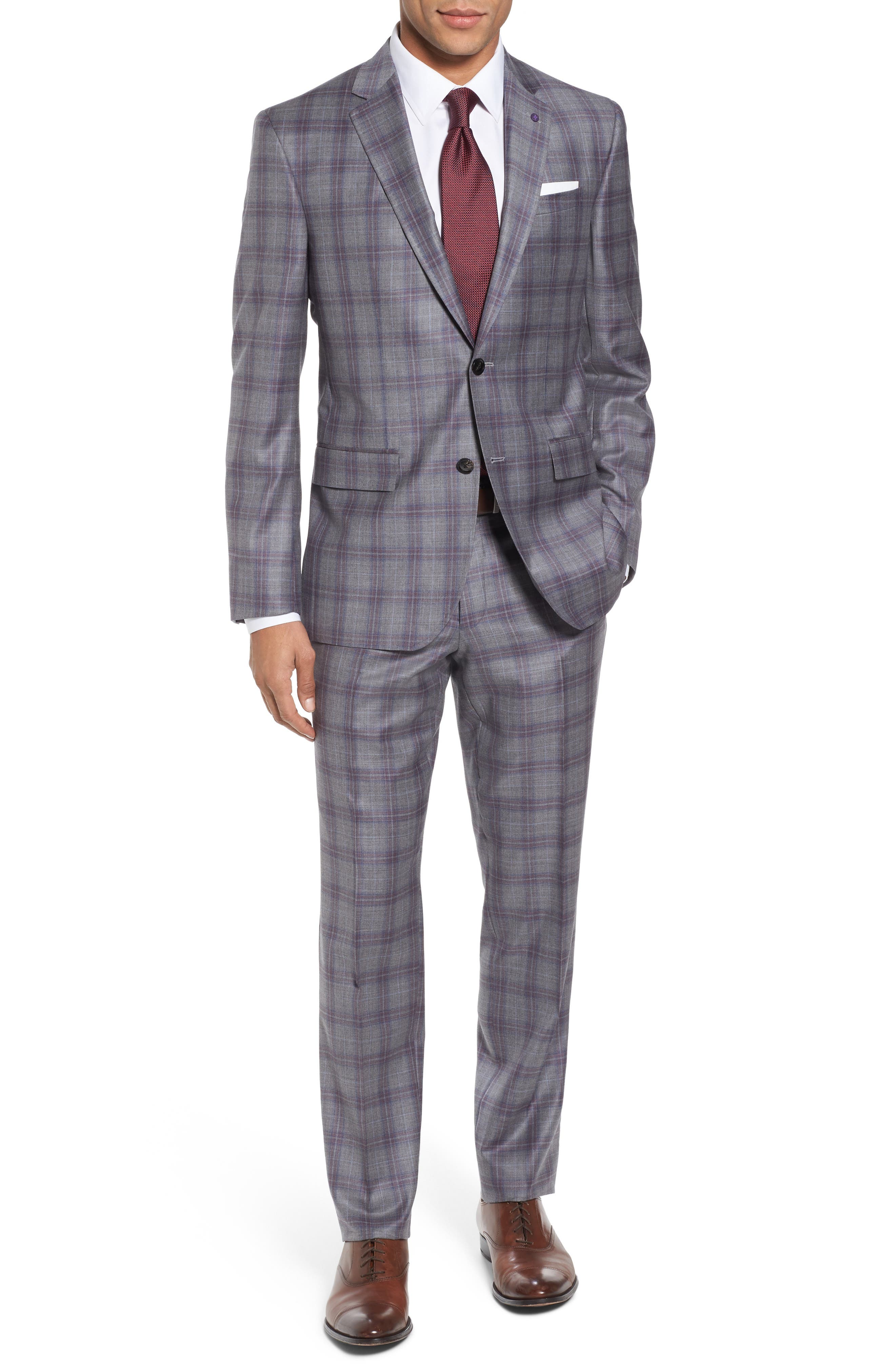 Jay Trim Fit Plaid Wool Suit,                             Main thumbnail 1, color,                             020