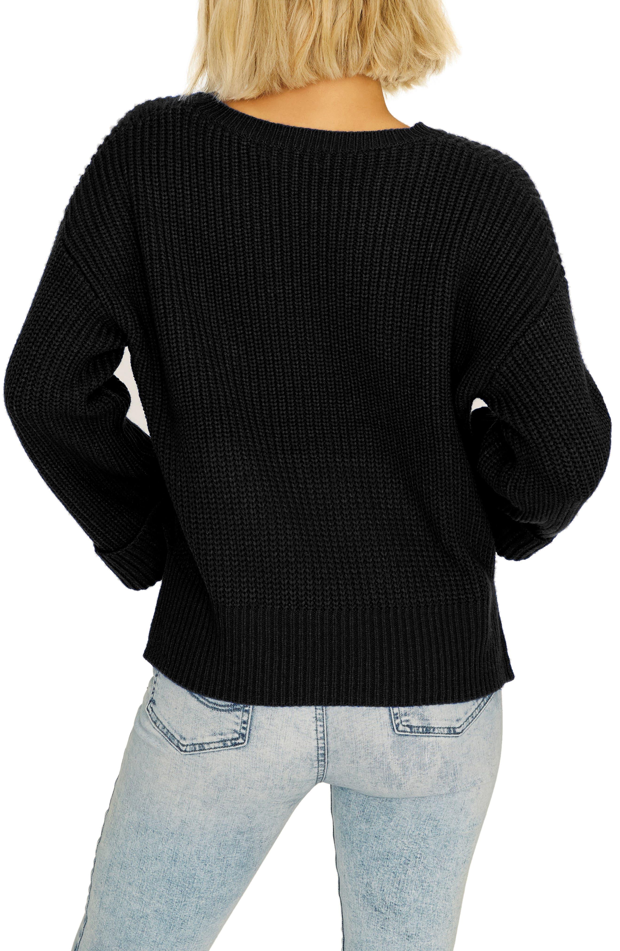 Bell Sleeve Shaker Sweater,                             Alternate thumbnail 2, color,                             BLACK