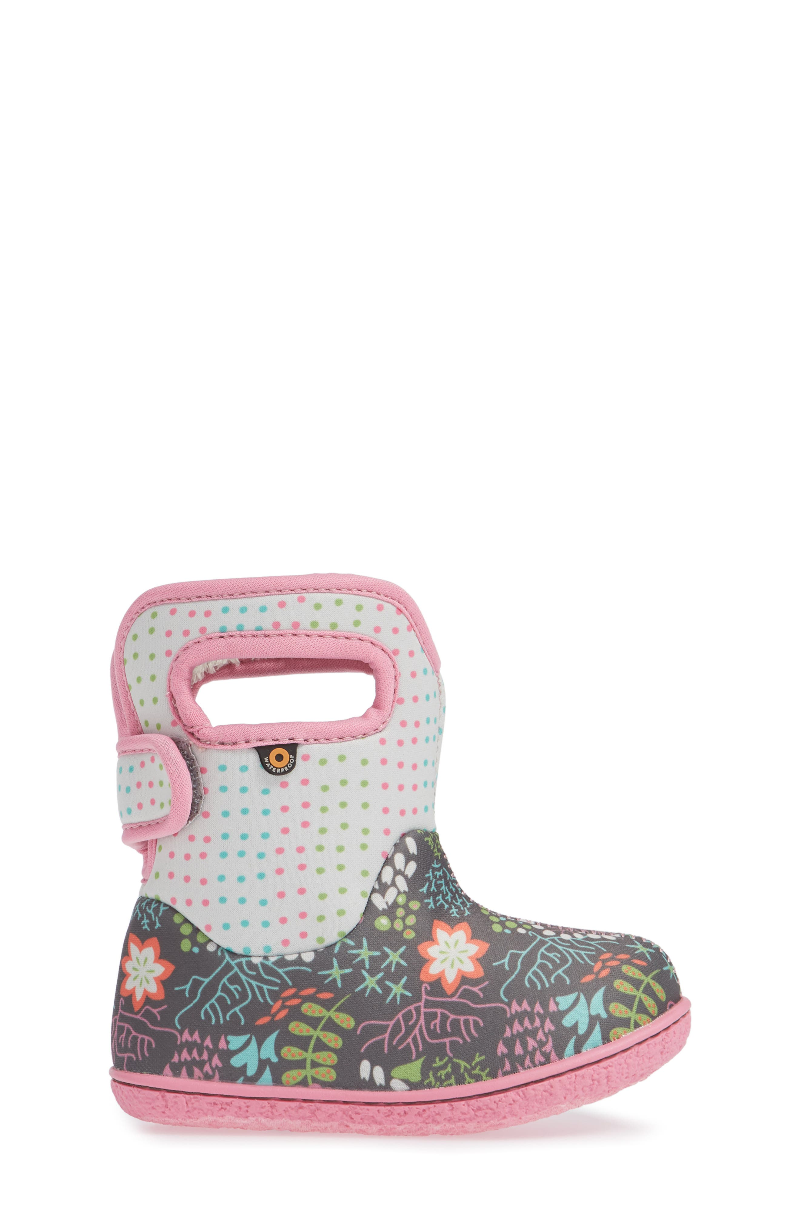 BOGS,                             Baby Bogs New Flower Dot Waterproof Boot,                             Alternate thumbnail 3, color,                             062