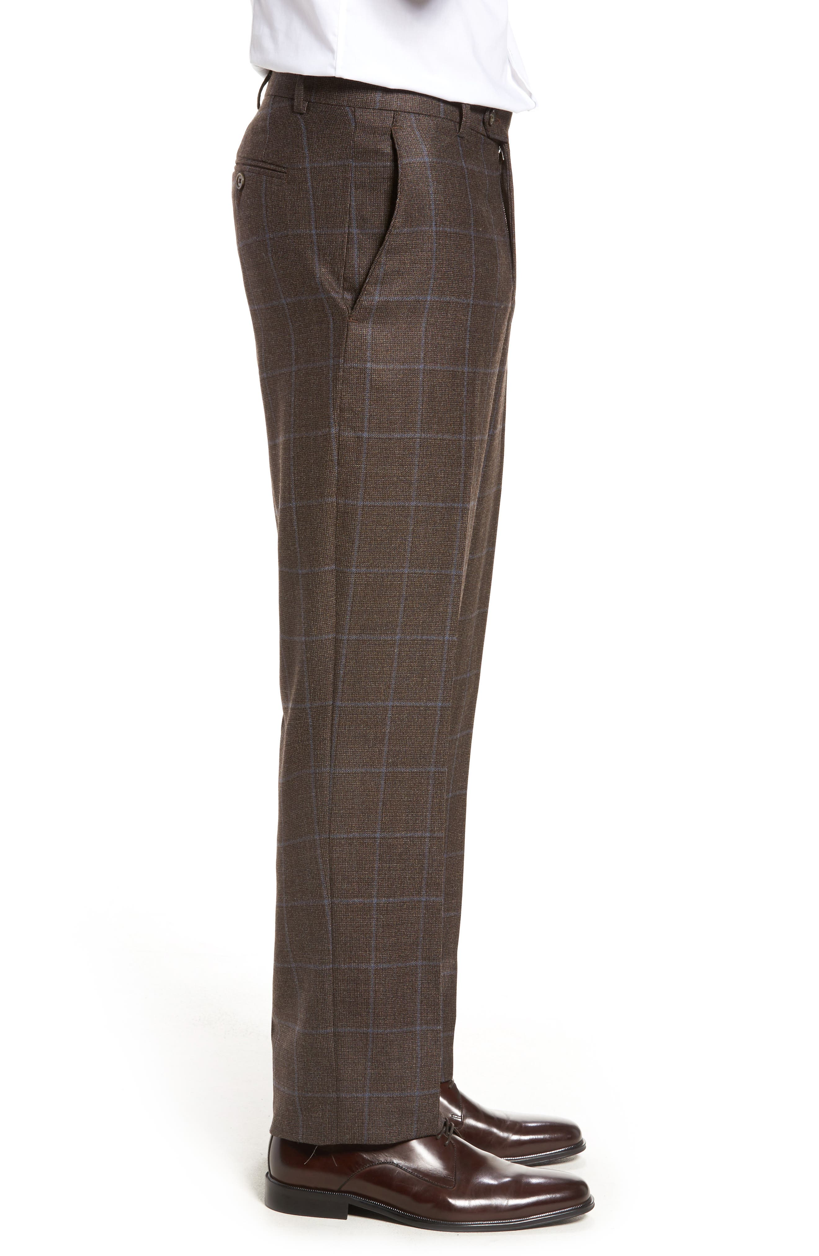 Flat Front Windowpane Wool Trousers,                             Alternate thumbnail 4, color,                             200