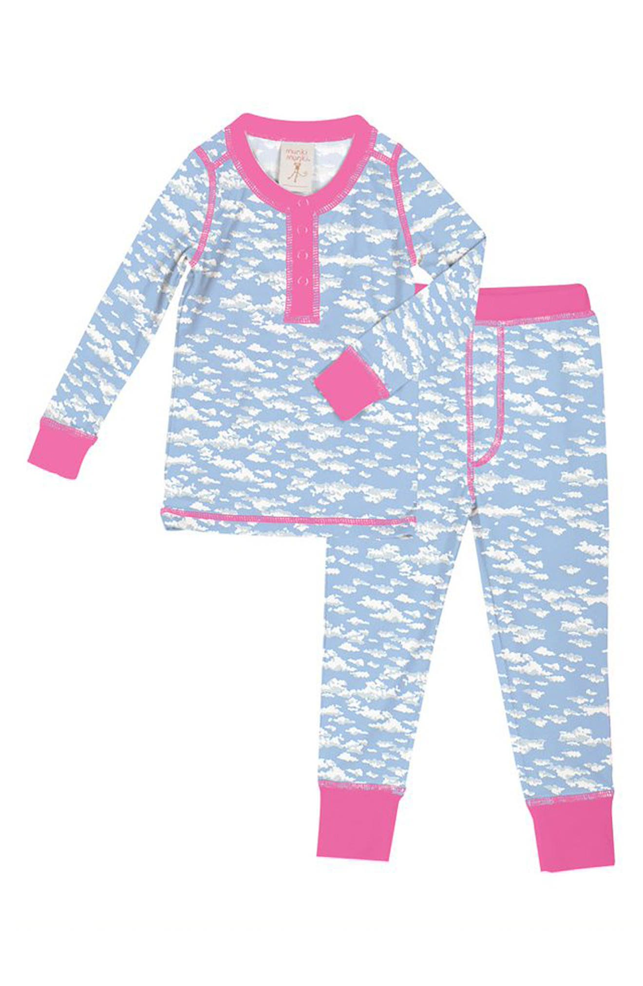 Clouds Fitted Two-Piece Pajamas, Main, color, BLUE