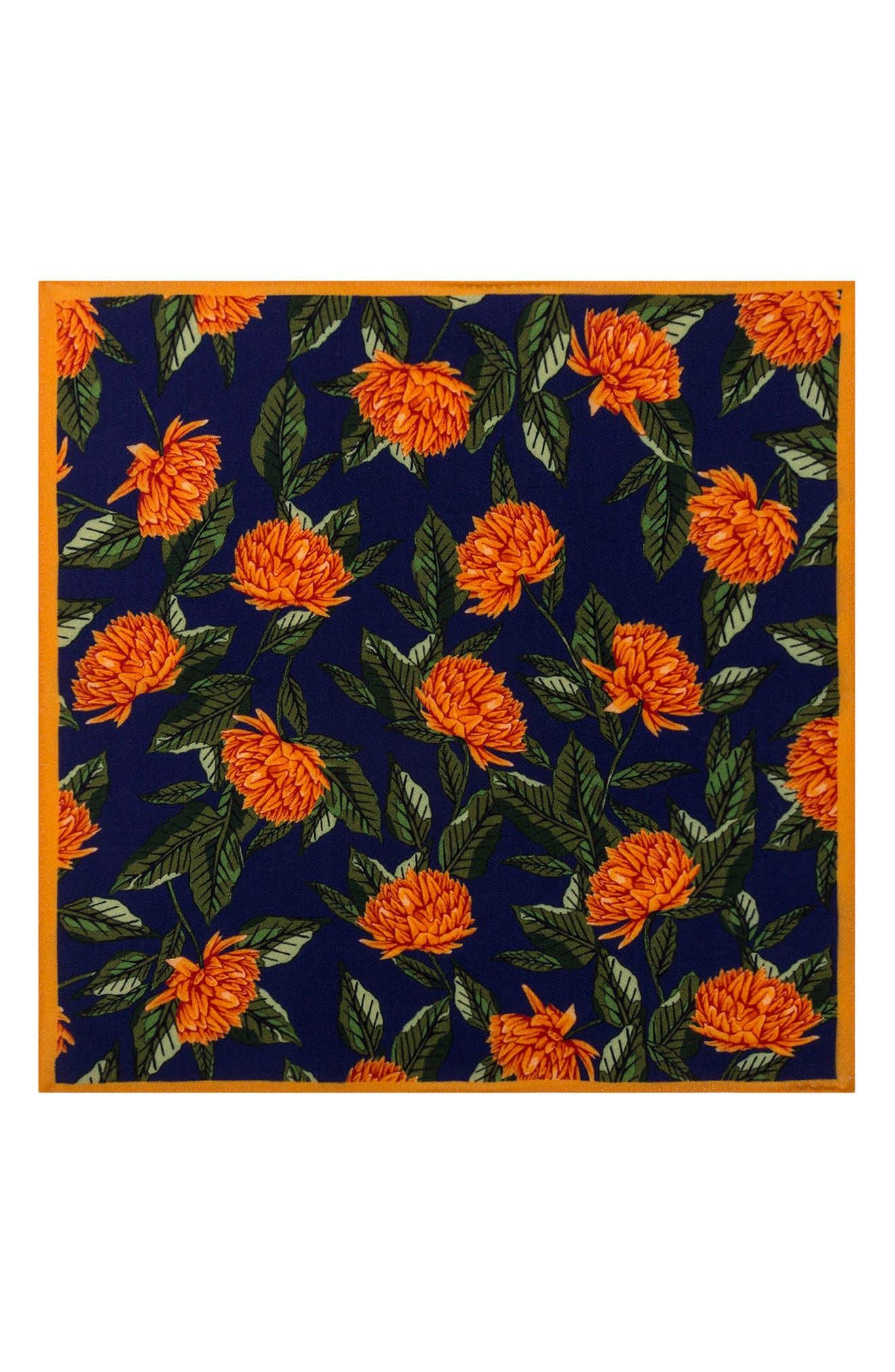 Floral Wool Pocket Square,                             Alternate thumbnail 4, color,