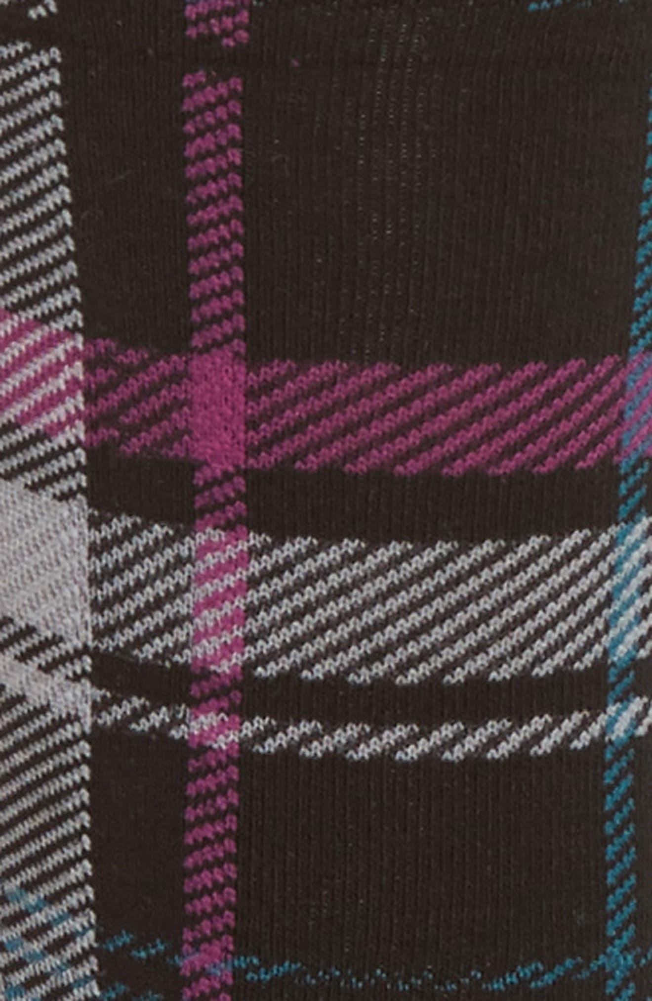 Plaid Flat Knit Socks,                             Alternate thumbnail 2, color,                             001