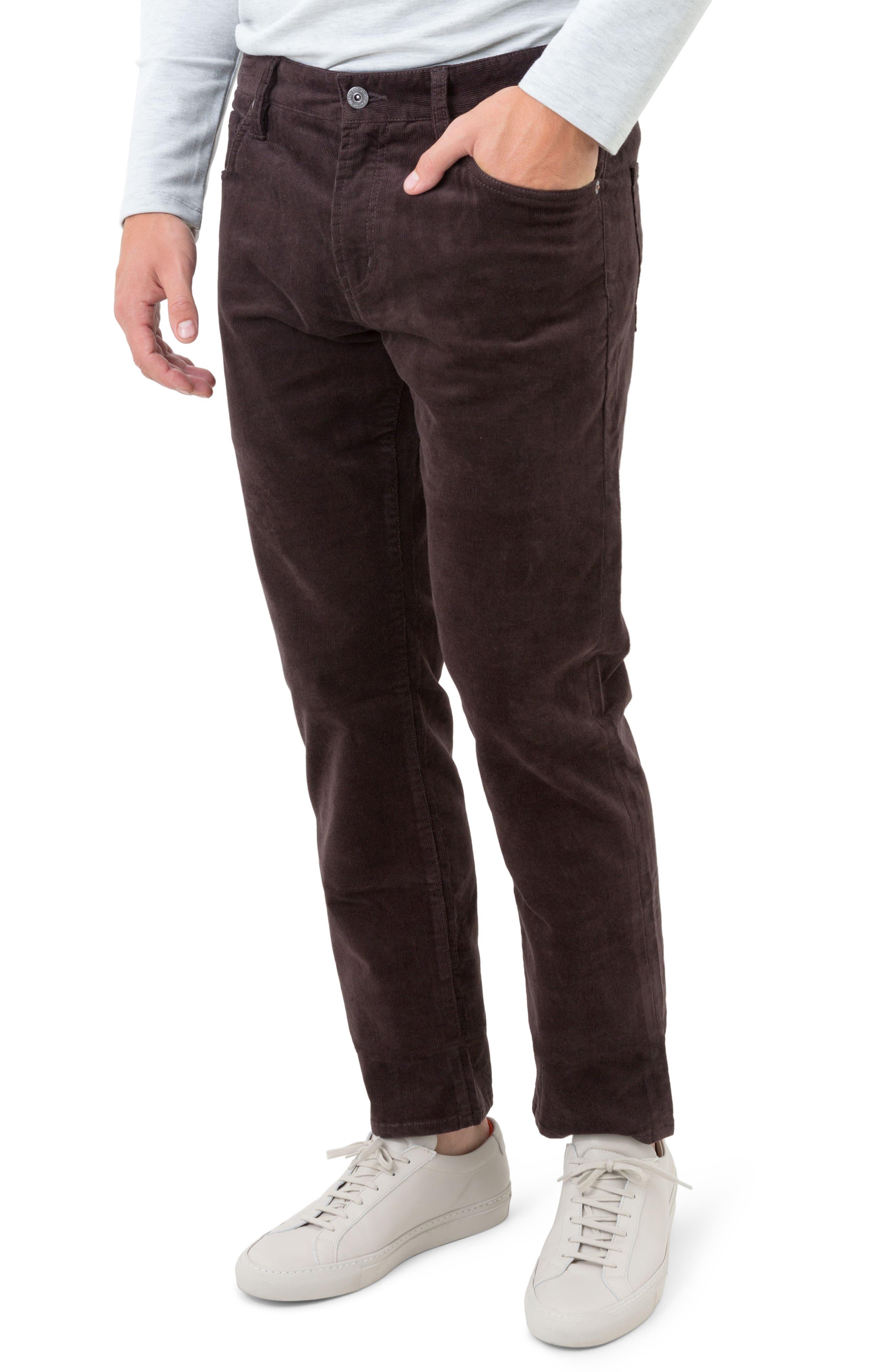 Courtland Slim Fit Corduroy Pants,                         Main,                         color, MOCHA BROWN