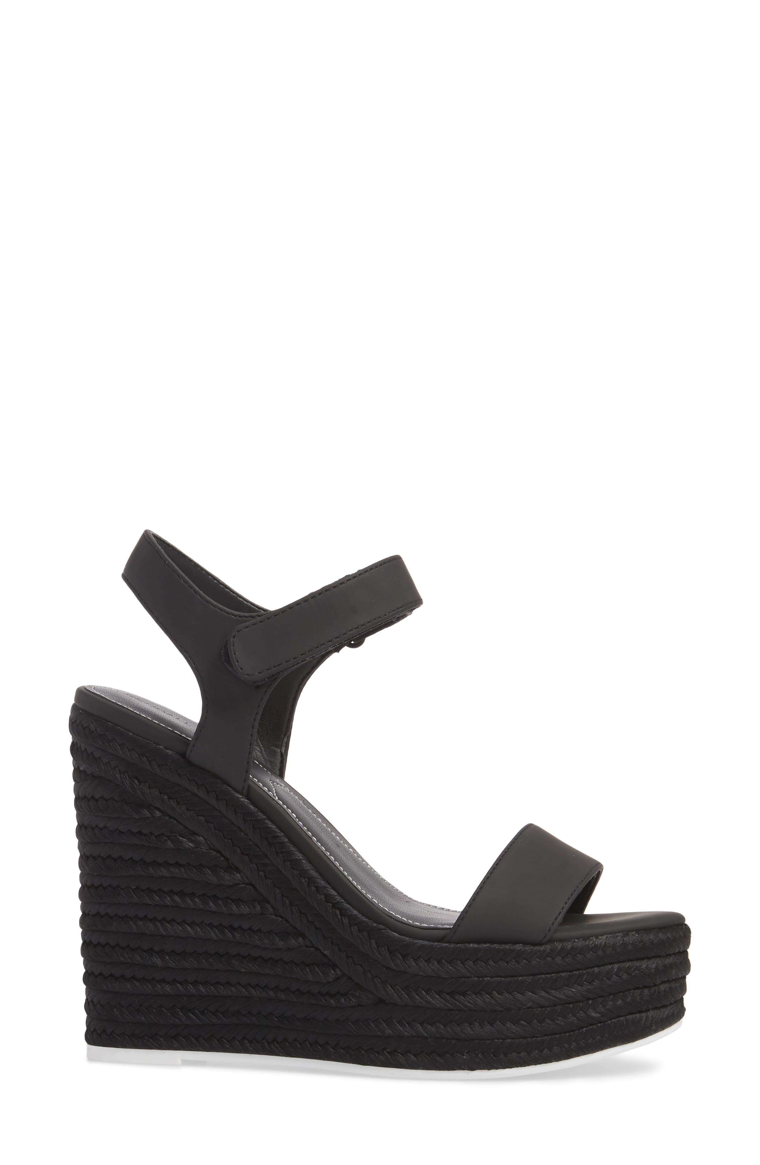 Grand Sport Espadrille Wedge Sandal,                             Alternate thumbnail 3, color,                             BLACK