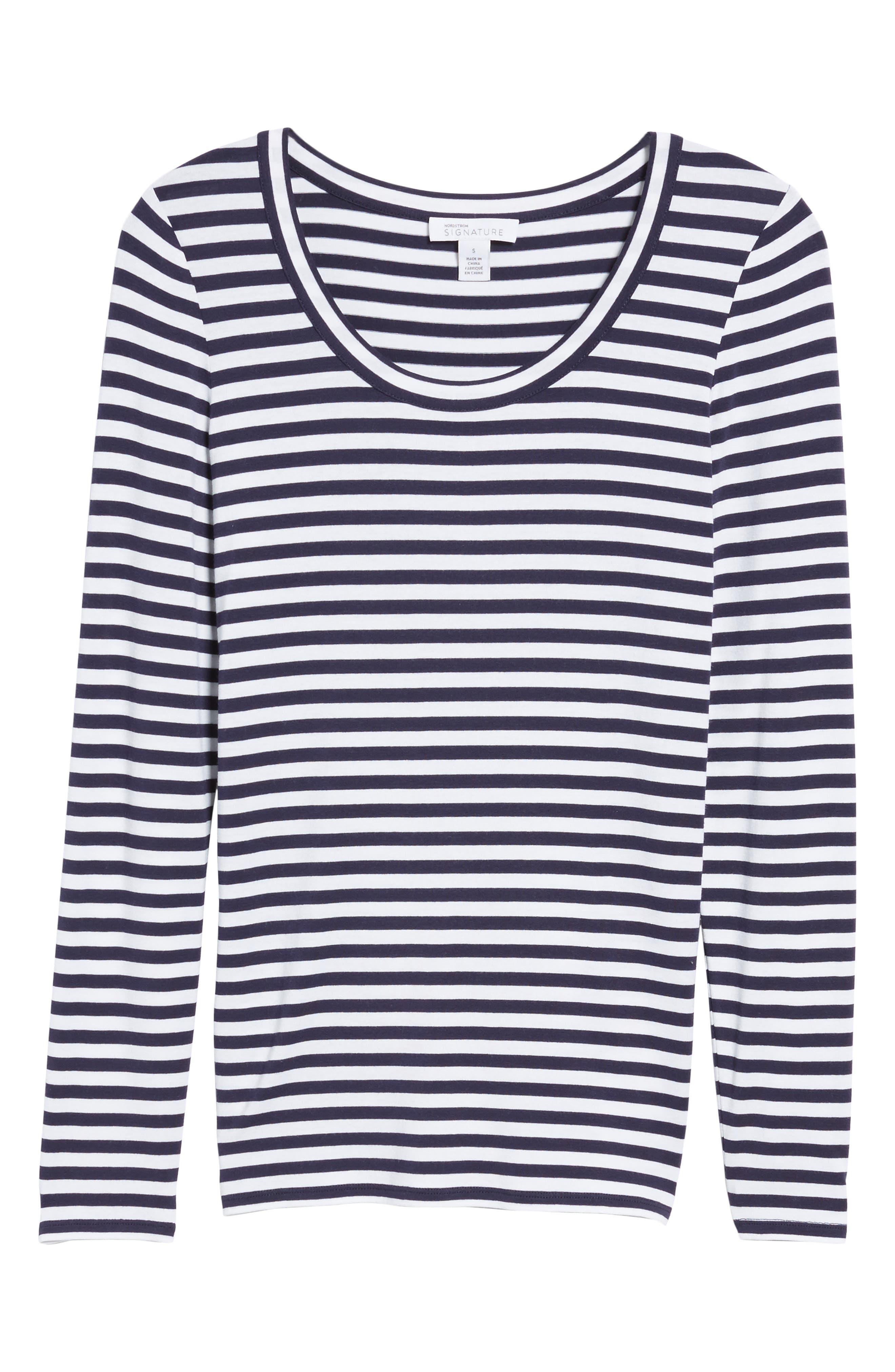 Stripe Long Sleeve Tee,                             Alternate thumbnail 6, color,                             410