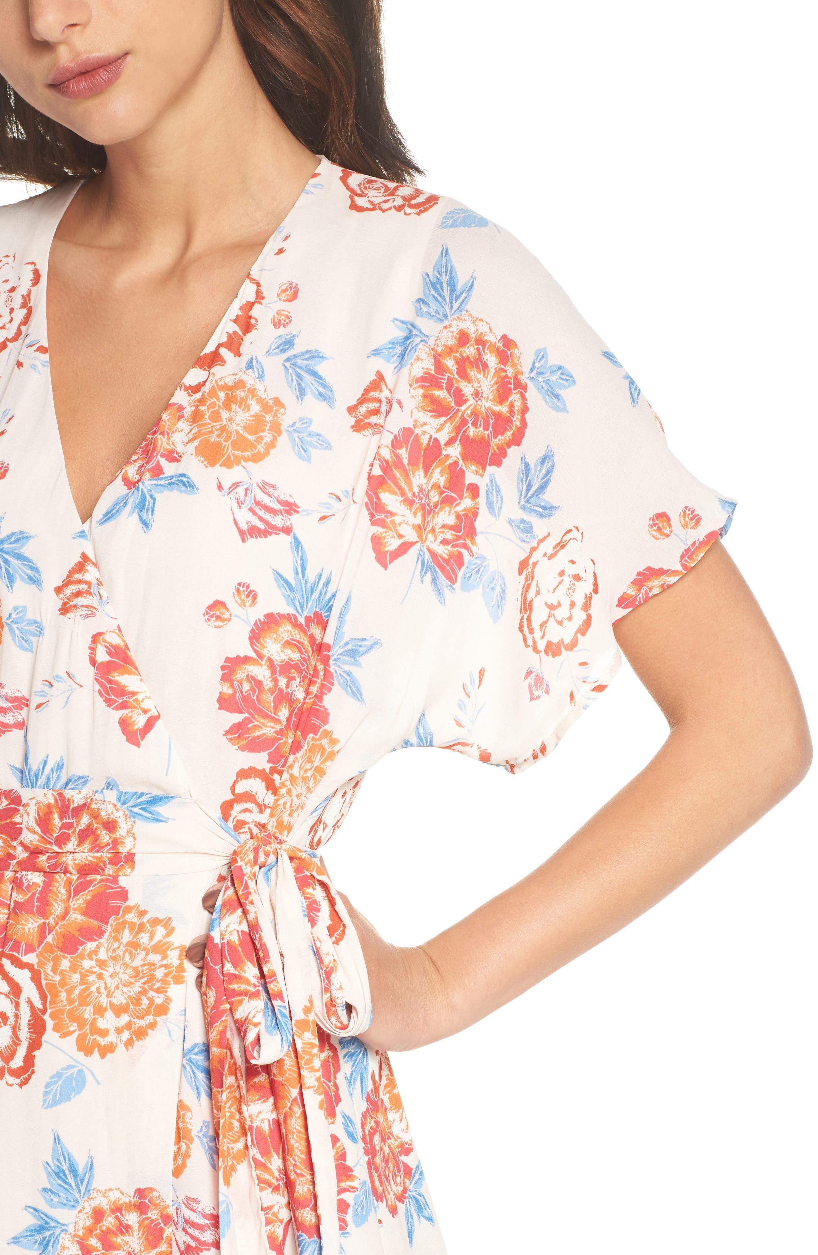 Floral Tie Waist Maxi Dress,                             Alternate thumbnail 4, color,                             950