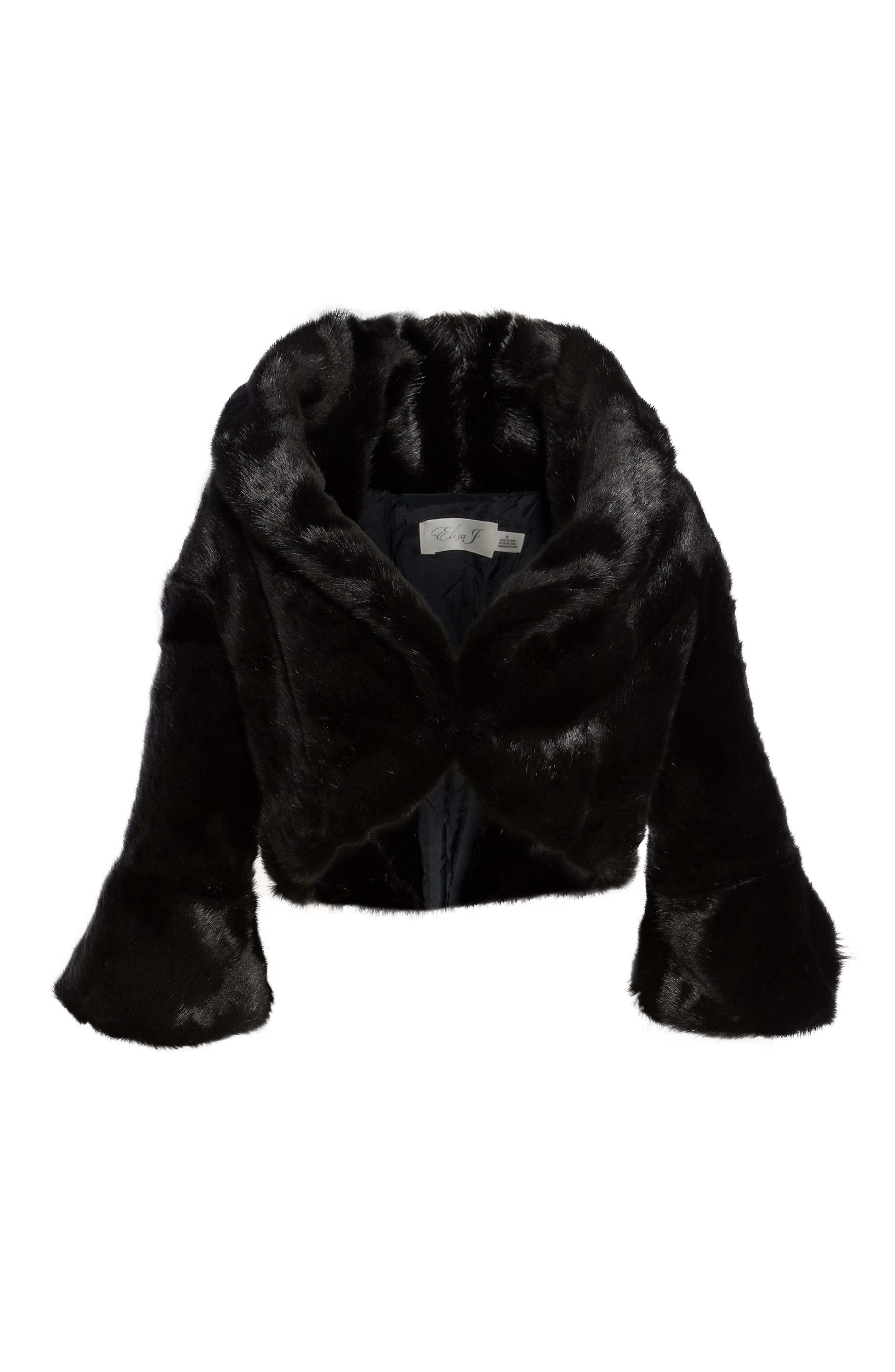 Faux Fur Jacket,                             Alternate thumbnail 5, color,                             001