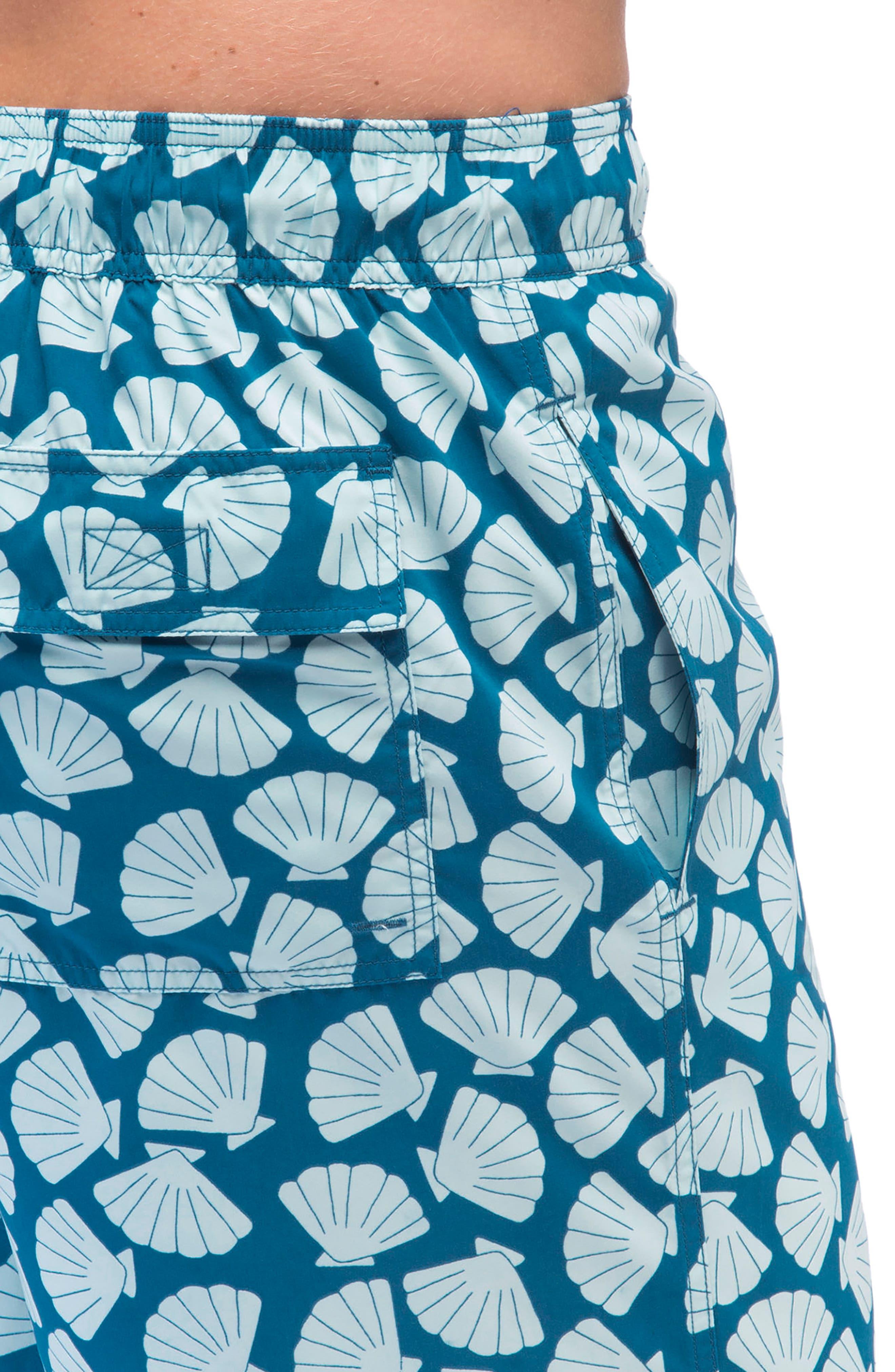 Shell Print Swim Trunks,                             Alternate thumbnail 3, color,                             BLUE