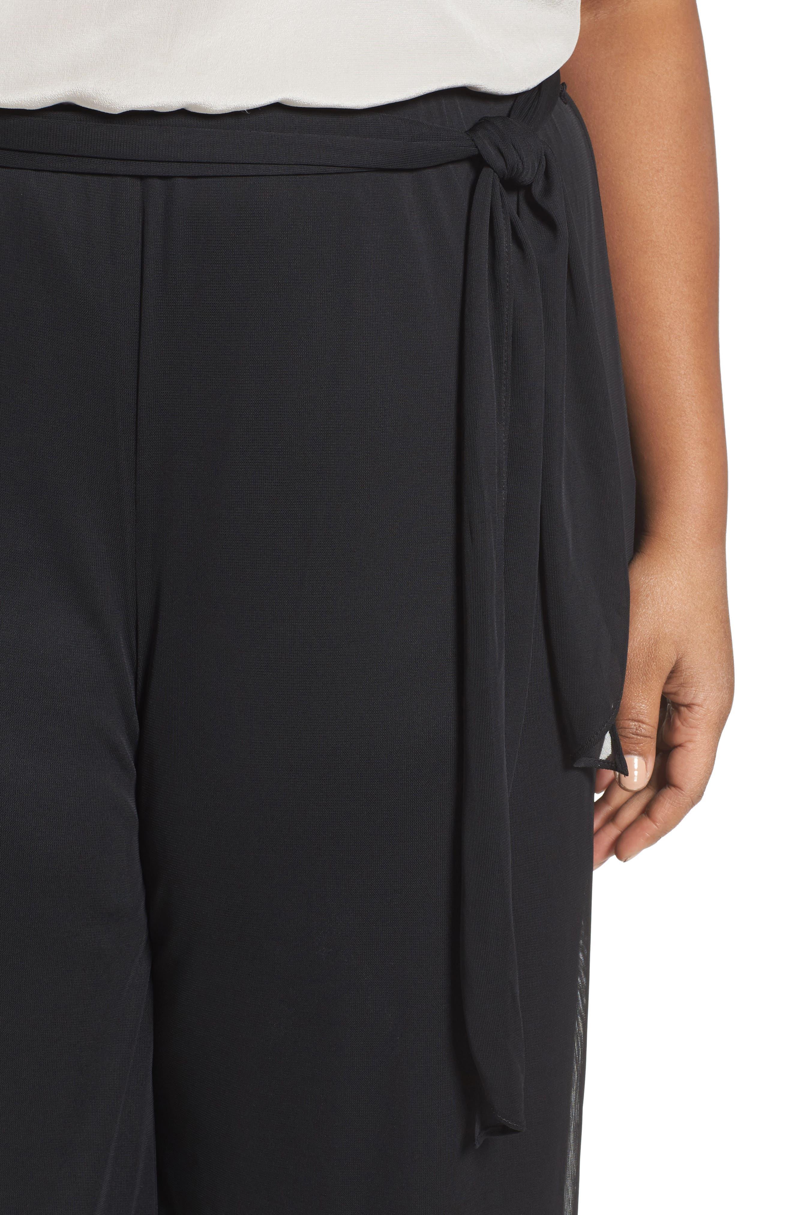 High Rise Tie Waist Wide Leg Pants,                             Alternate thumbnail 4, color,                             BLACK