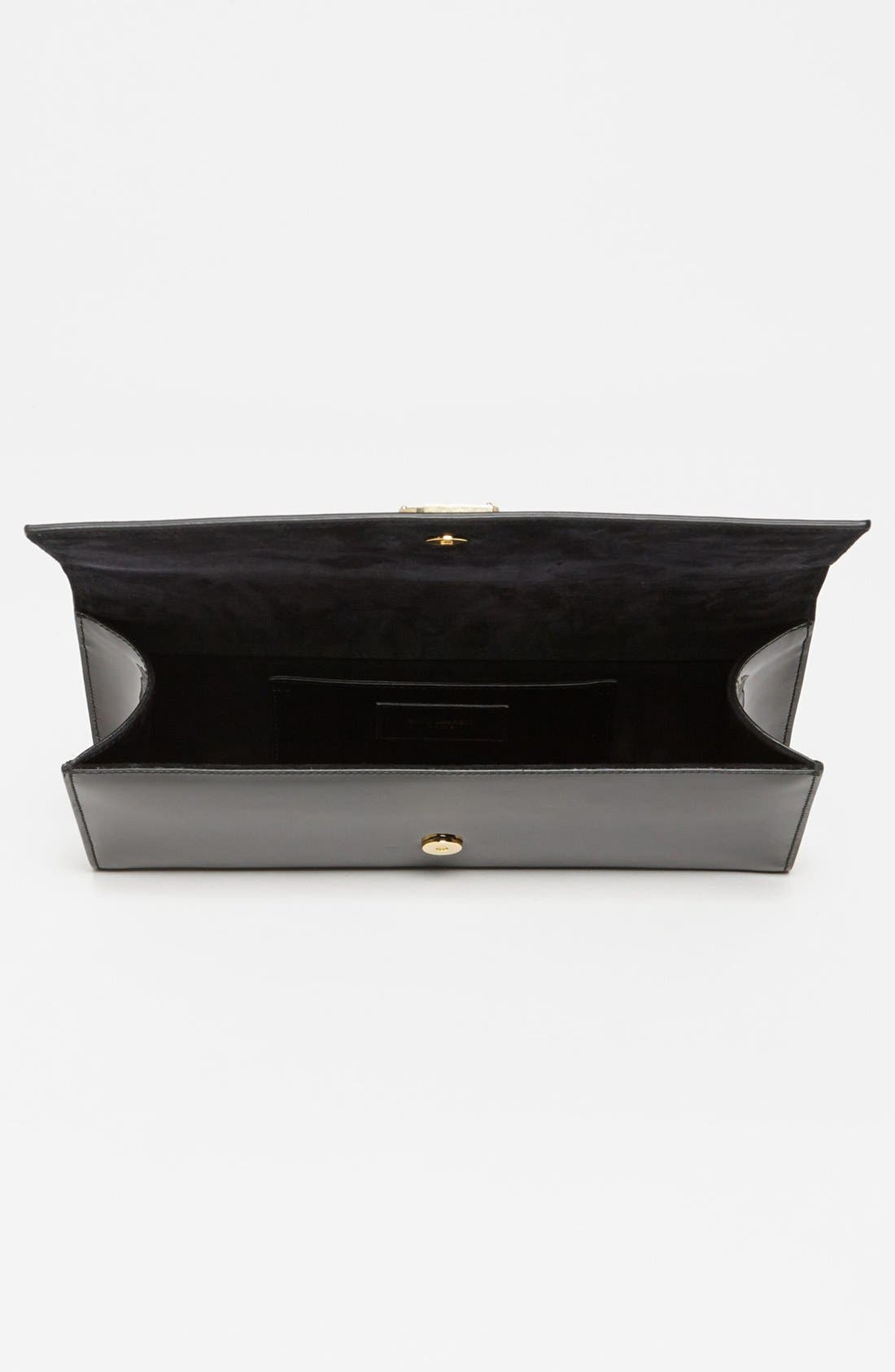 'Cassandre - Laque' Leather Clutch,                             Alternate thumbnail 4, color,                             001