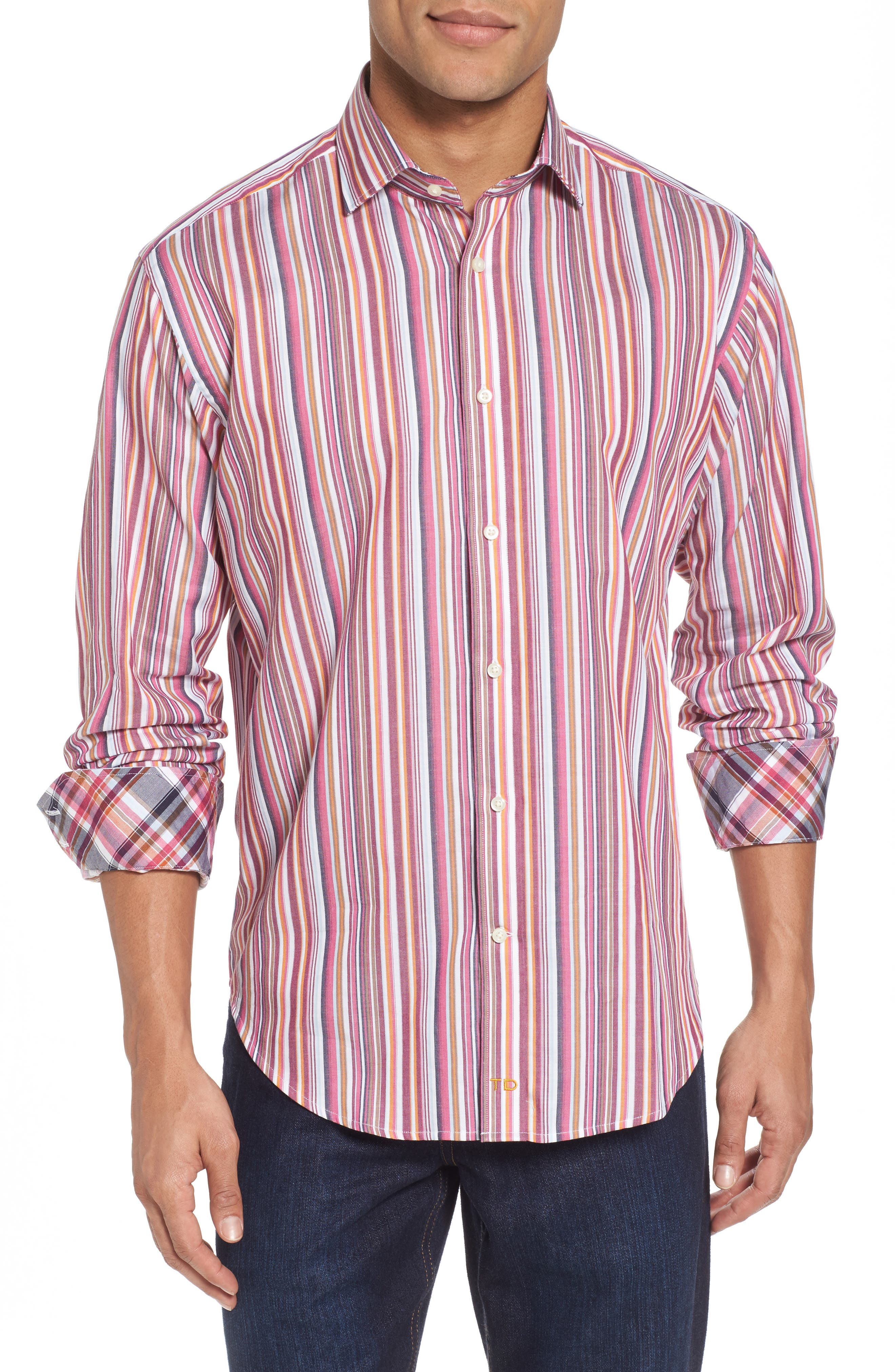 Regular Fit Stripe Sport Shirt,                             Main thumbnail 1, color,