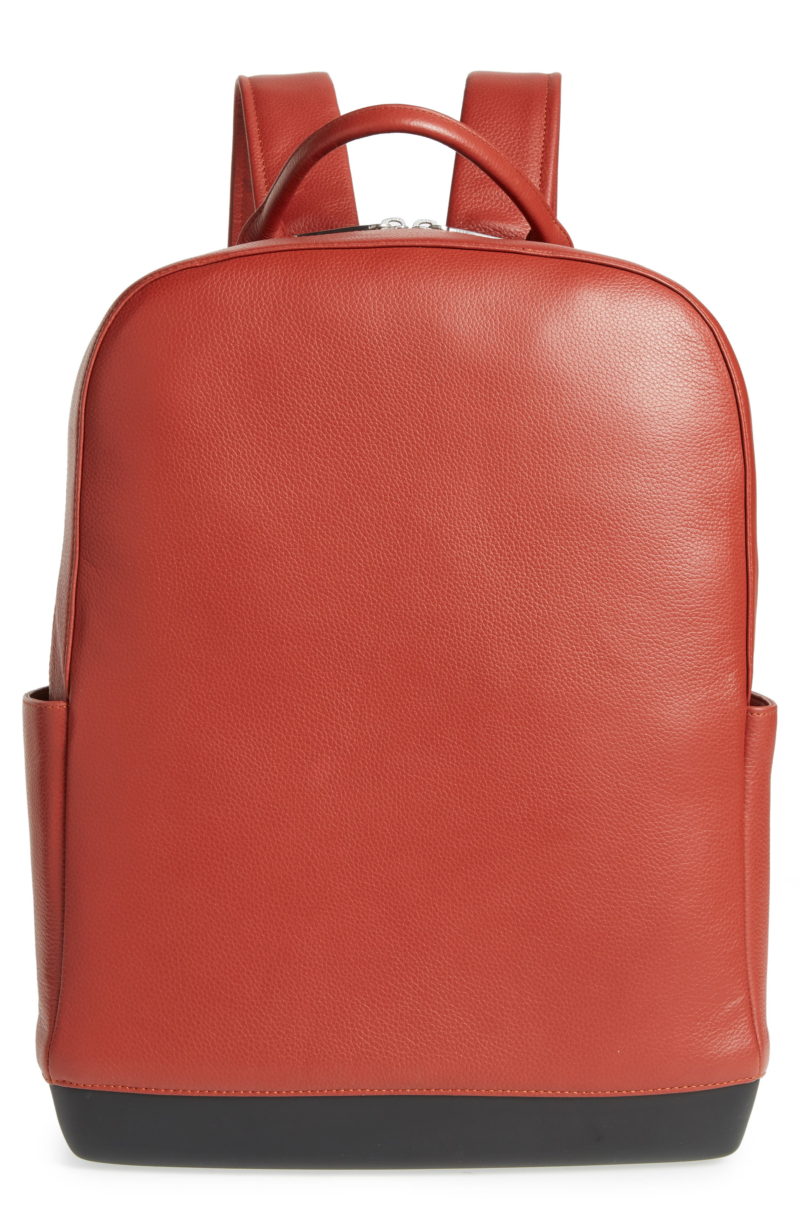Leather Backpack,                         Main,                         color, TERRACE RED