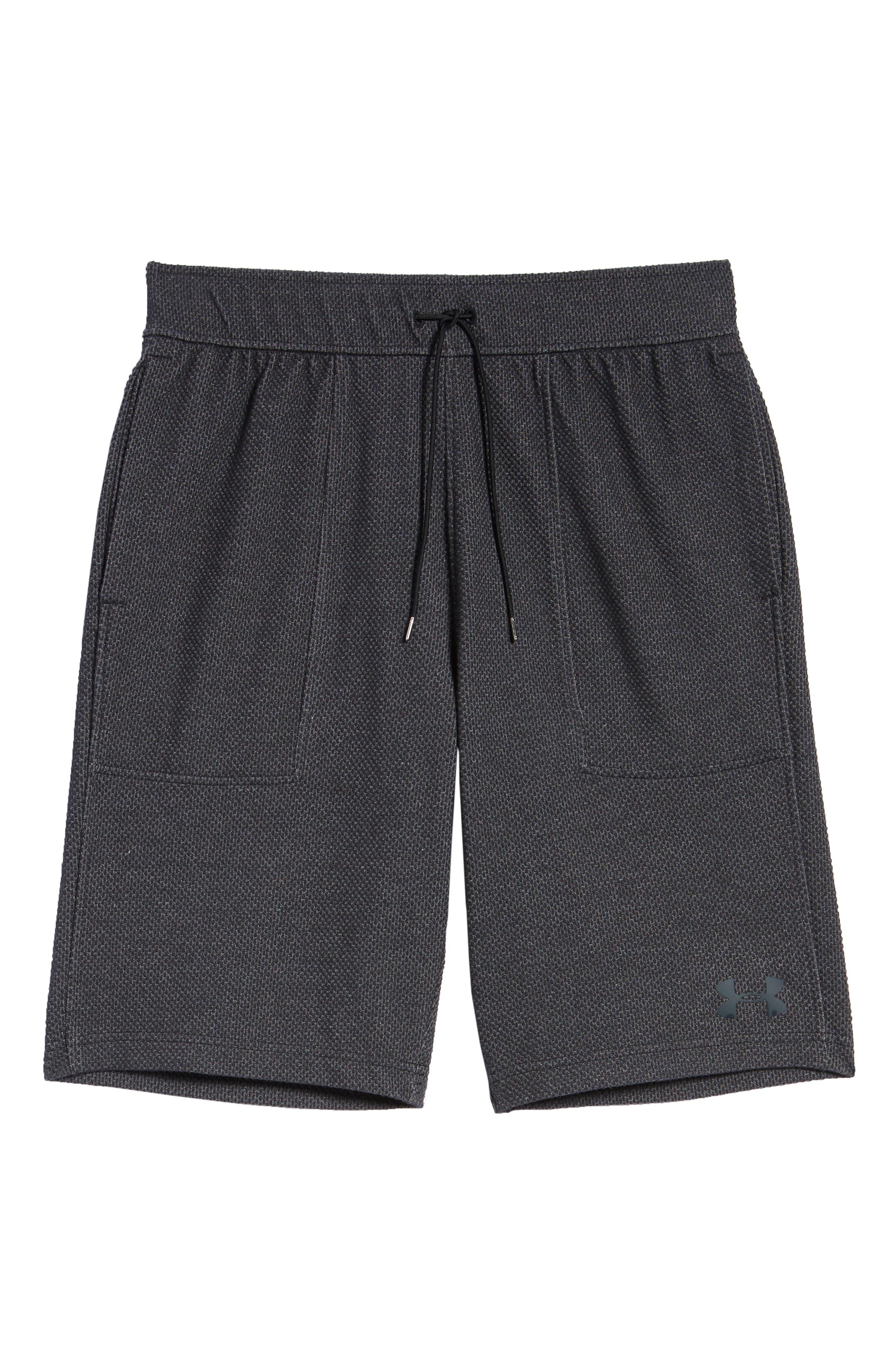 Pursuit Fleece Trim Fit Shorts,                             Alternate thumbnail 6, color,                             BLACK/ BLACK/ STEALTH GRAY