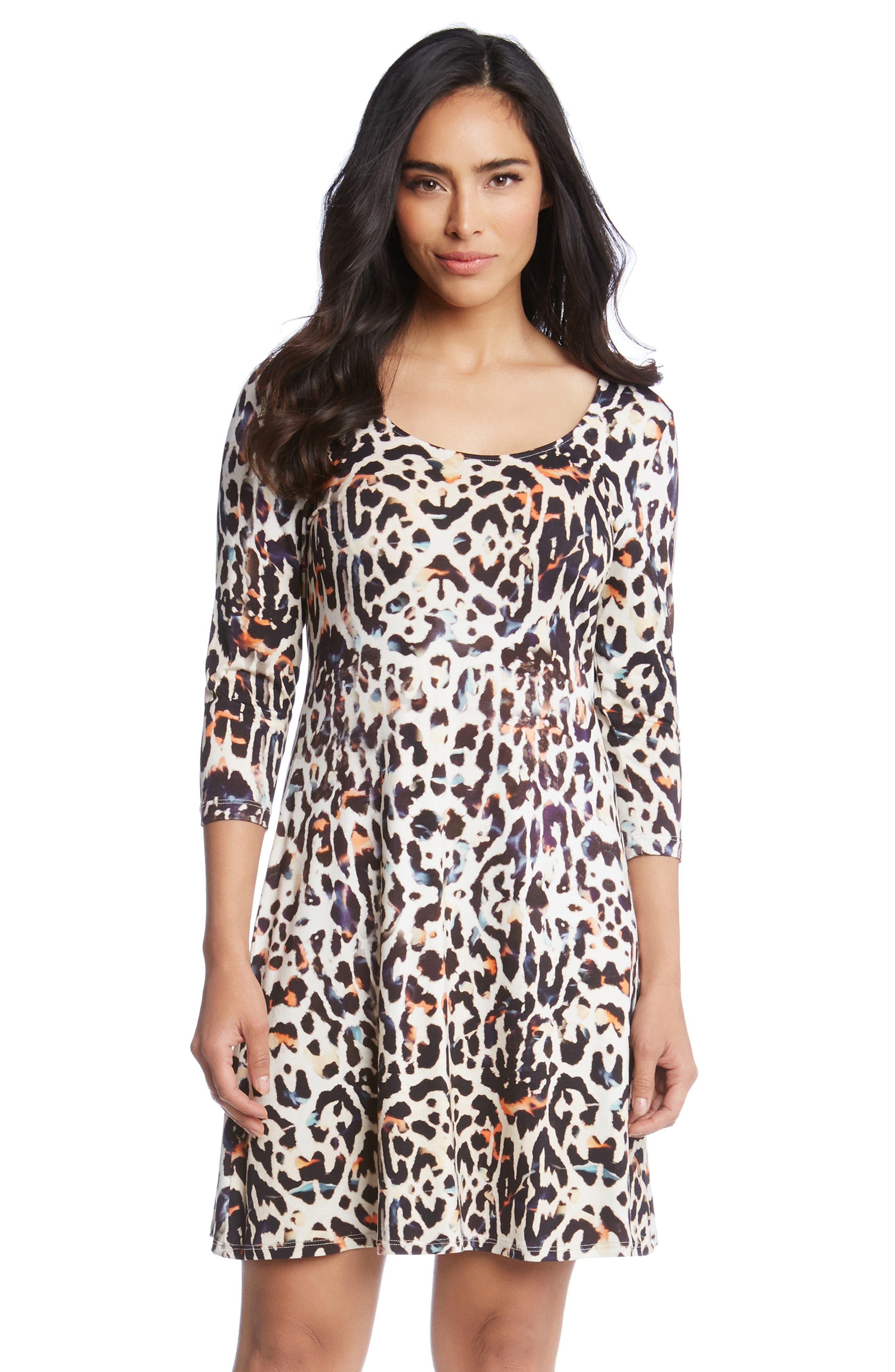 Leopard Print A-Line Dress,                             Alternate thumbnail 4, color,                             280