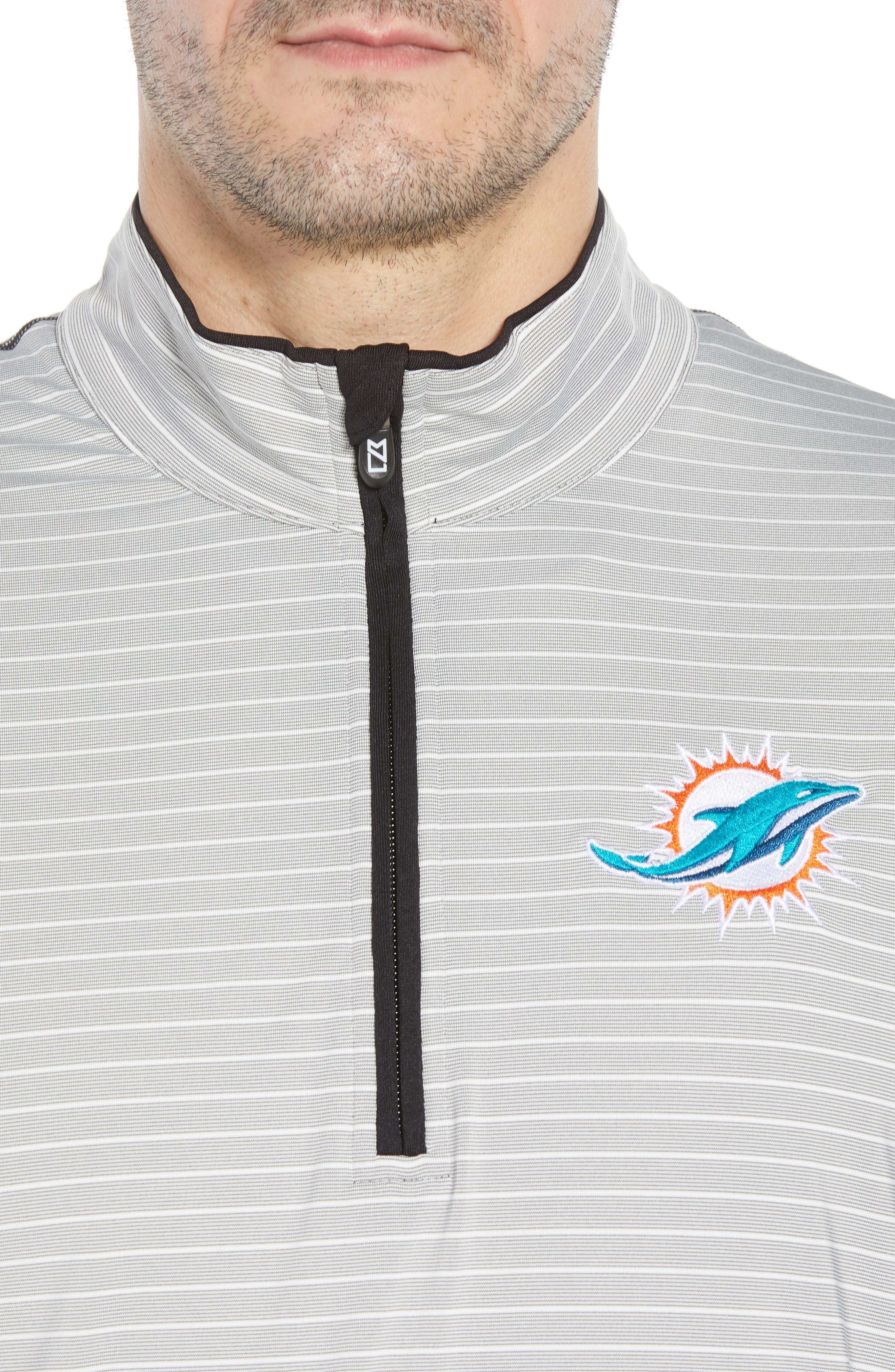 Meridian - Miami Dolphins Regular Fit Half Zip Pullover,                             Alternate thumbnail 4, color,                             BLACK