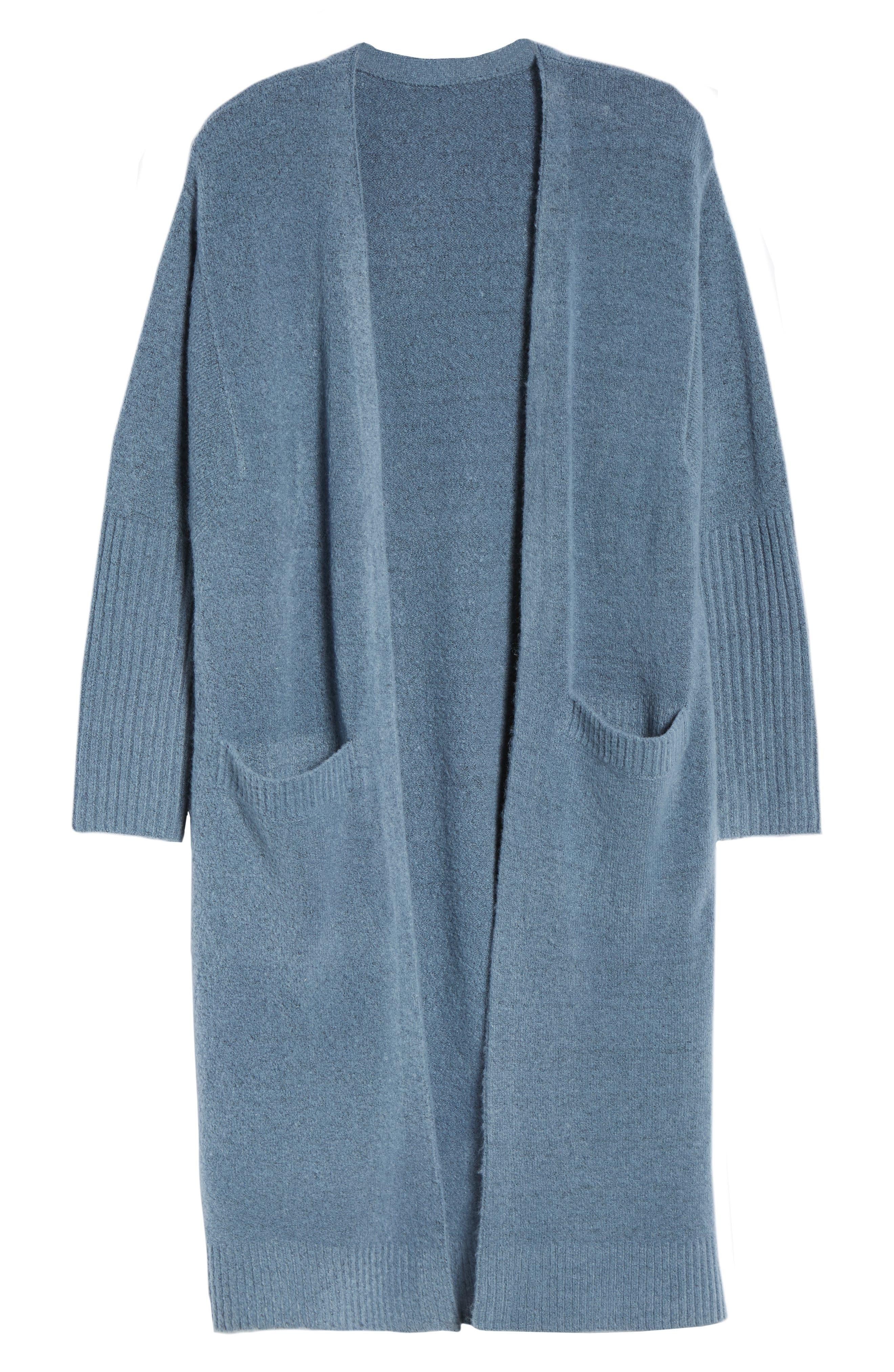 Long Knit Duster,                             Alternate thumbnail 6, color,                             BLUE CAPTAIN HEATHER