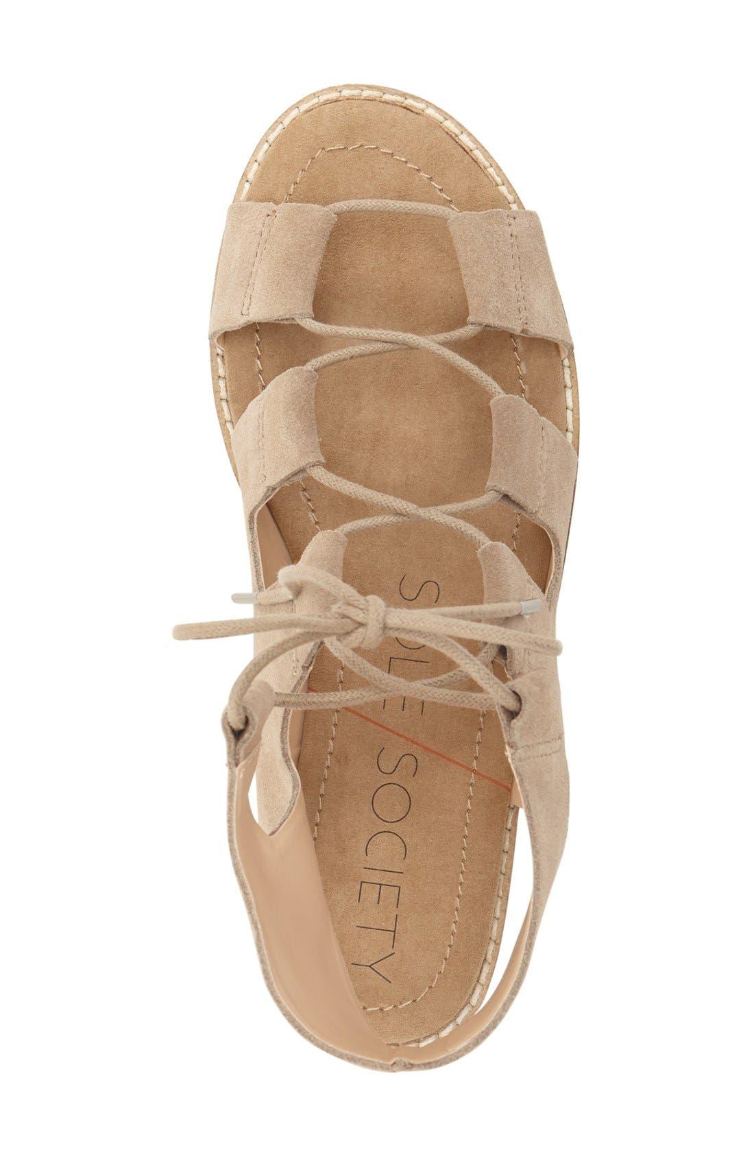 'Cady' Lace-Up Flat Sandal,                             Alternate thumbnail 6, color,
