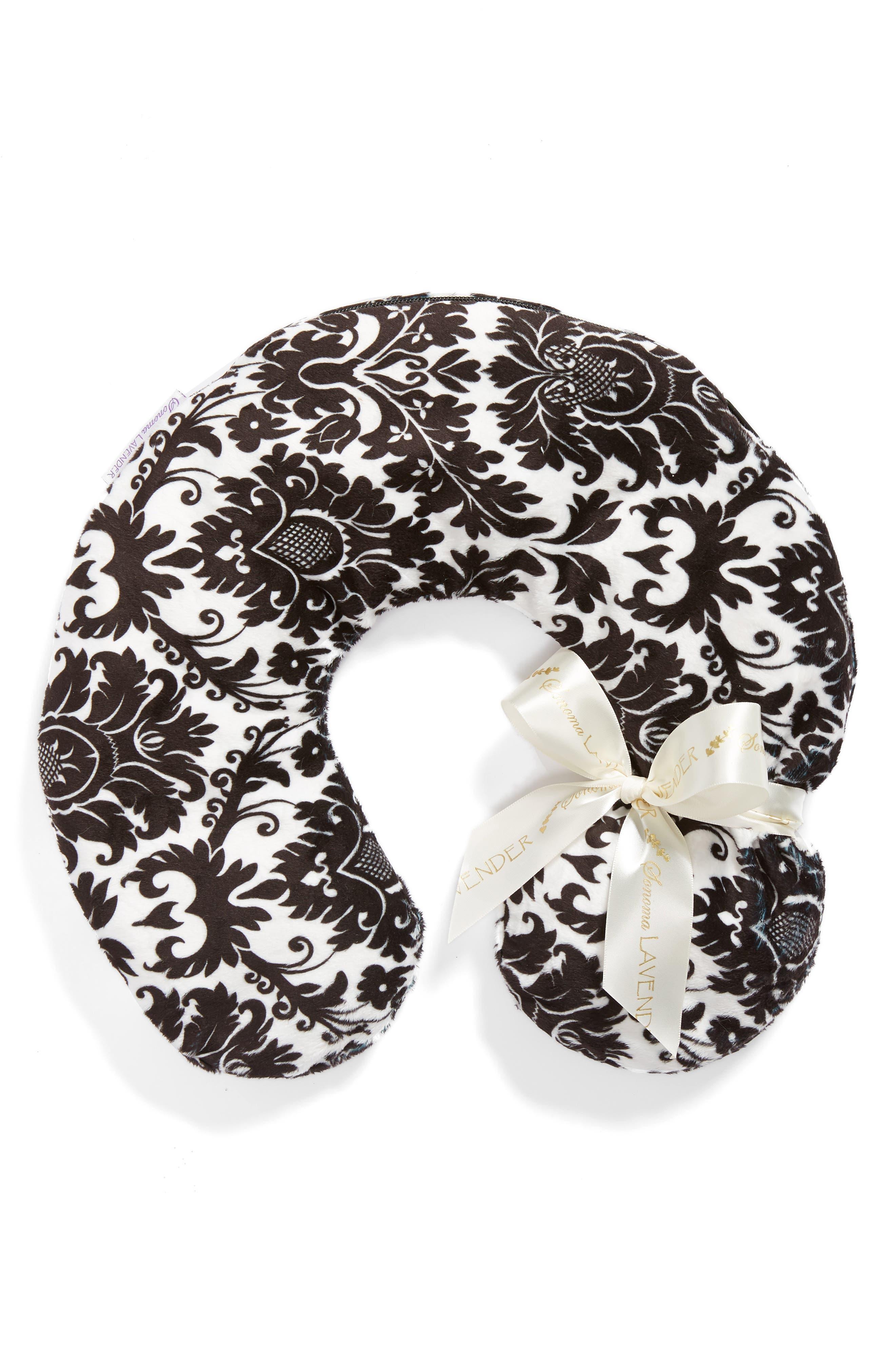 Black Damask Neck Pillow,                             Main thumbnail 1, color,                             000