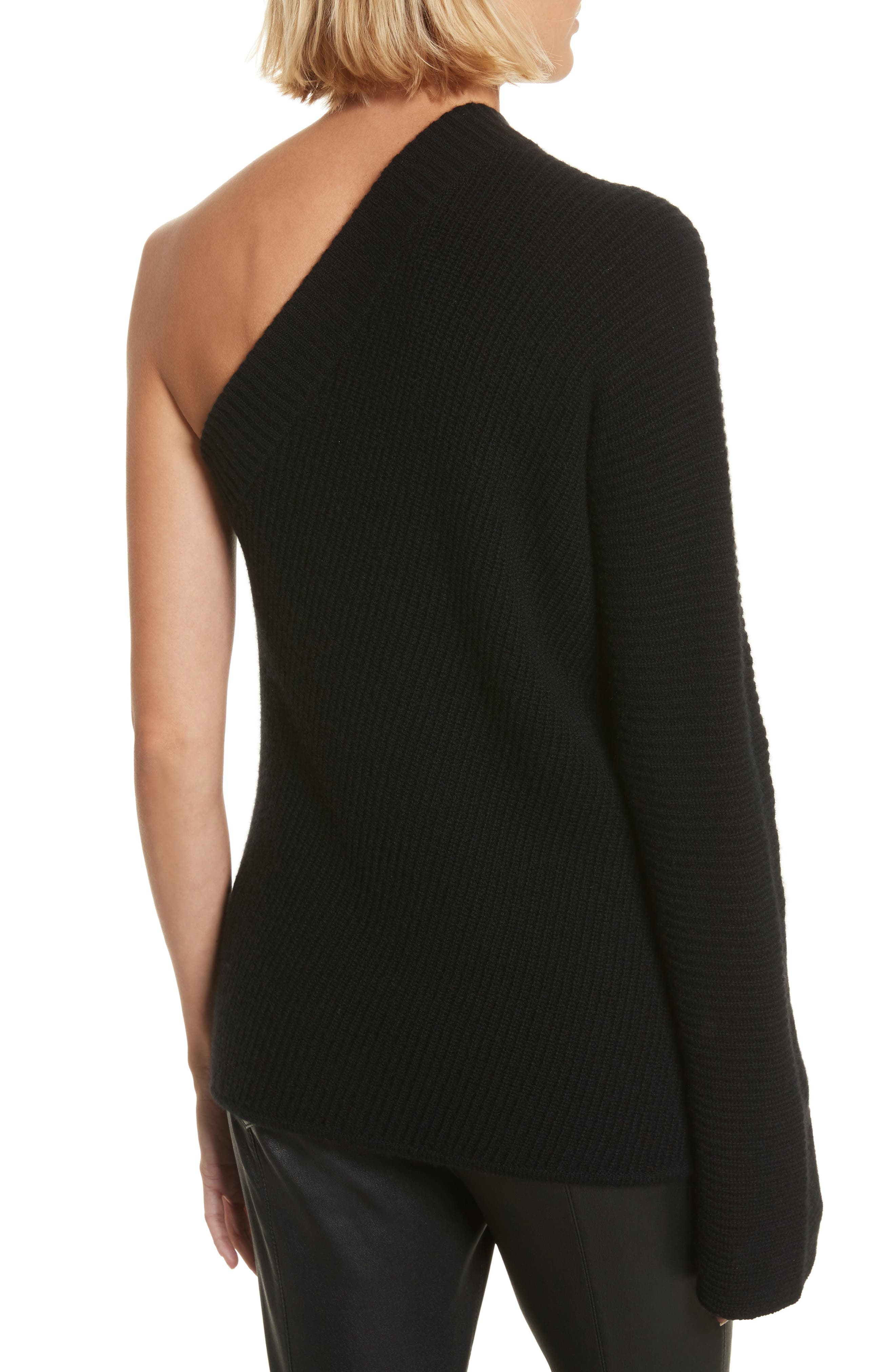 Tracey One Shoulder Wool & Cashmere Sweater,                             Alternate thumbnail 2, color,                             001