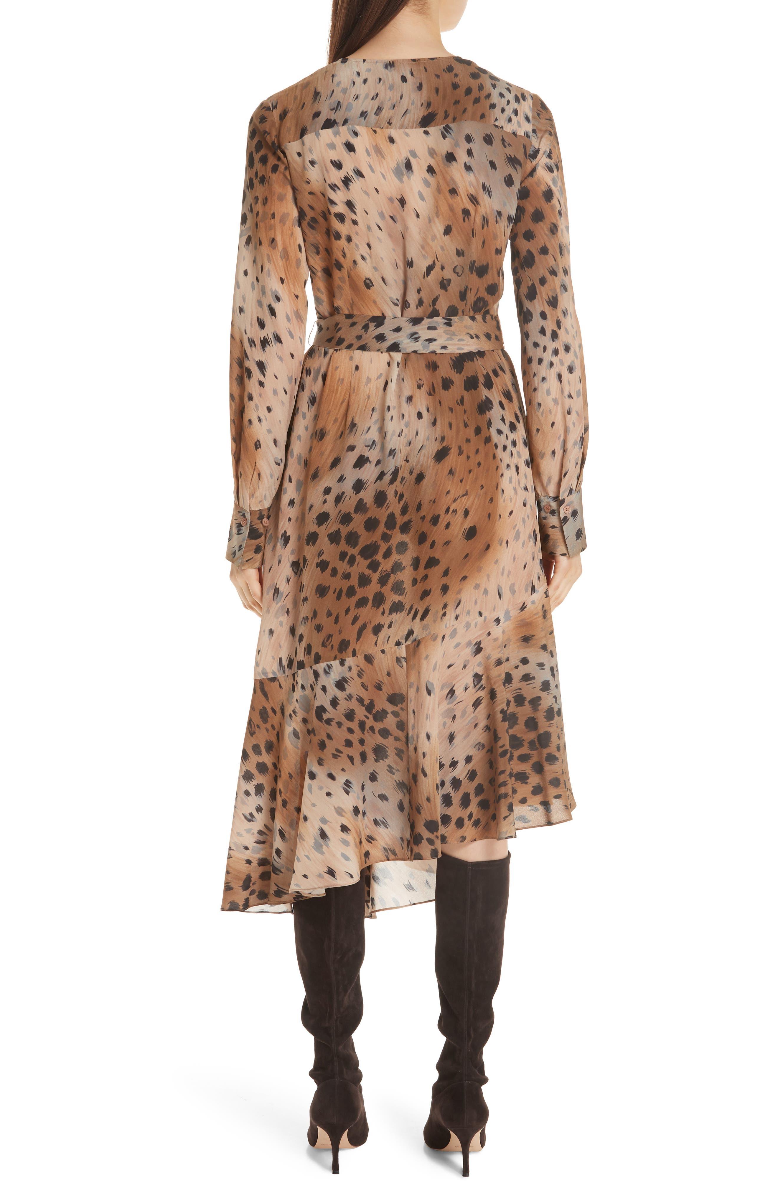 Delancy Silk Dress,                             Alternate thumbnail 2, color,                             SADDLE MULTI