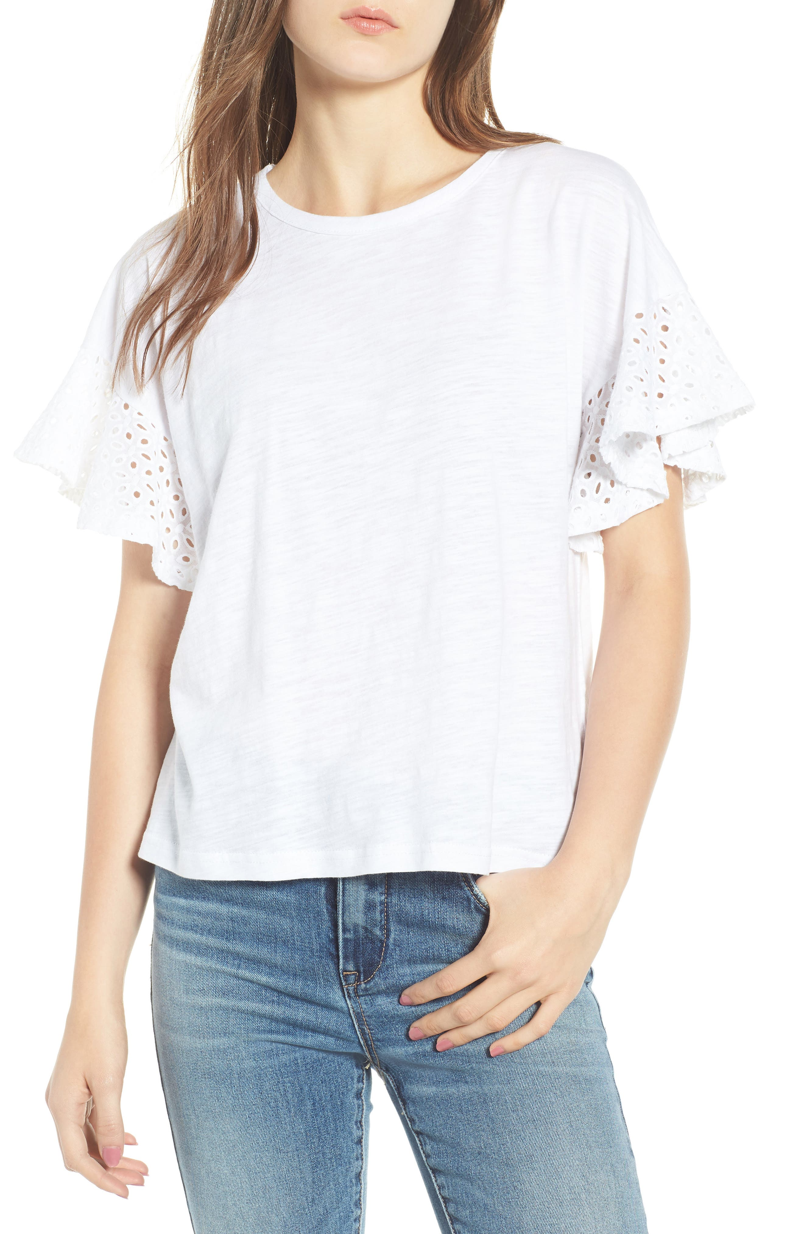 Eyelet Sleeve Burnout Tee,                         Main,                         color, 100