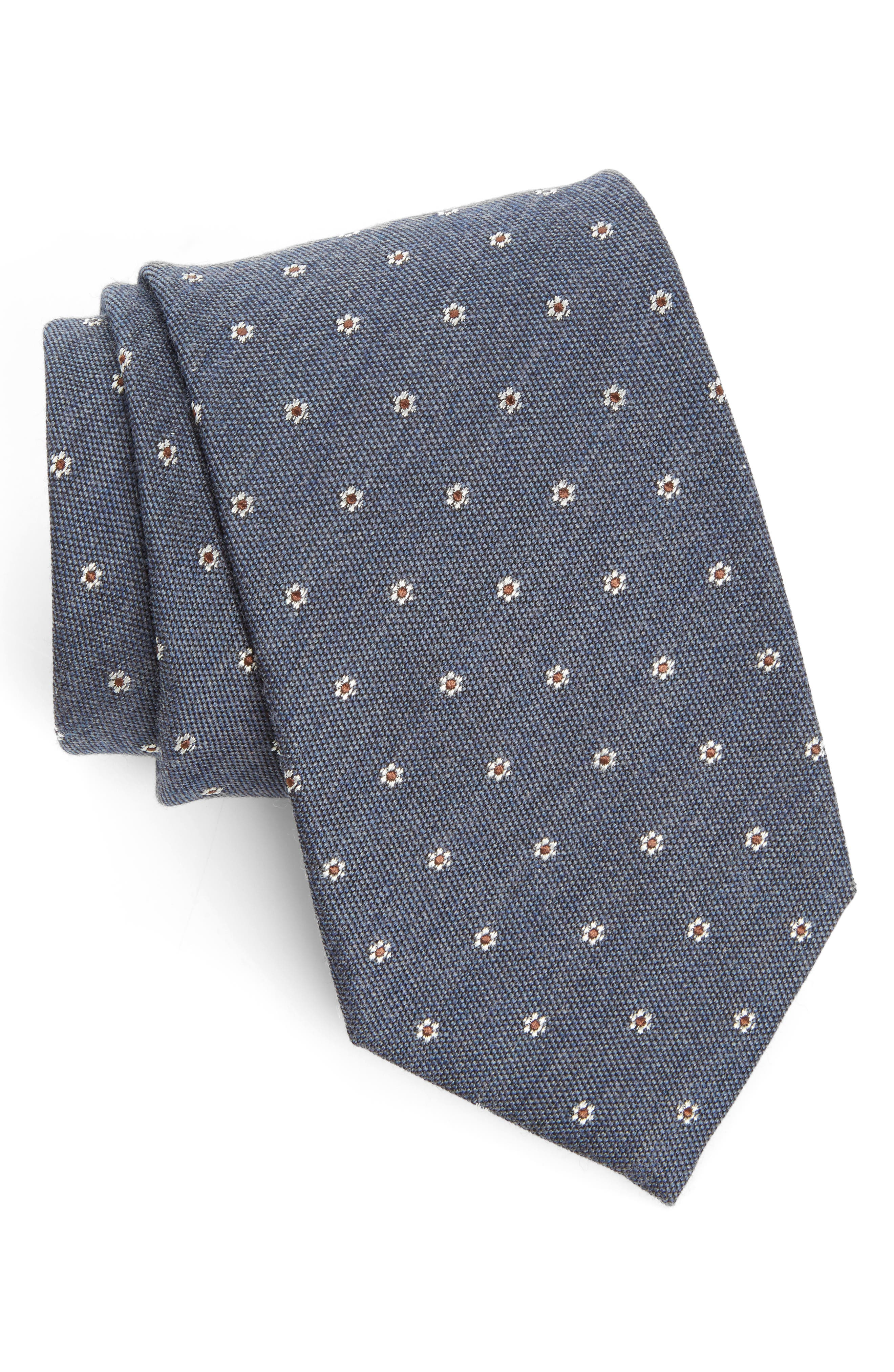 Heather Floral Silk & Wool Tie,                             Main thumbnail 3, color,