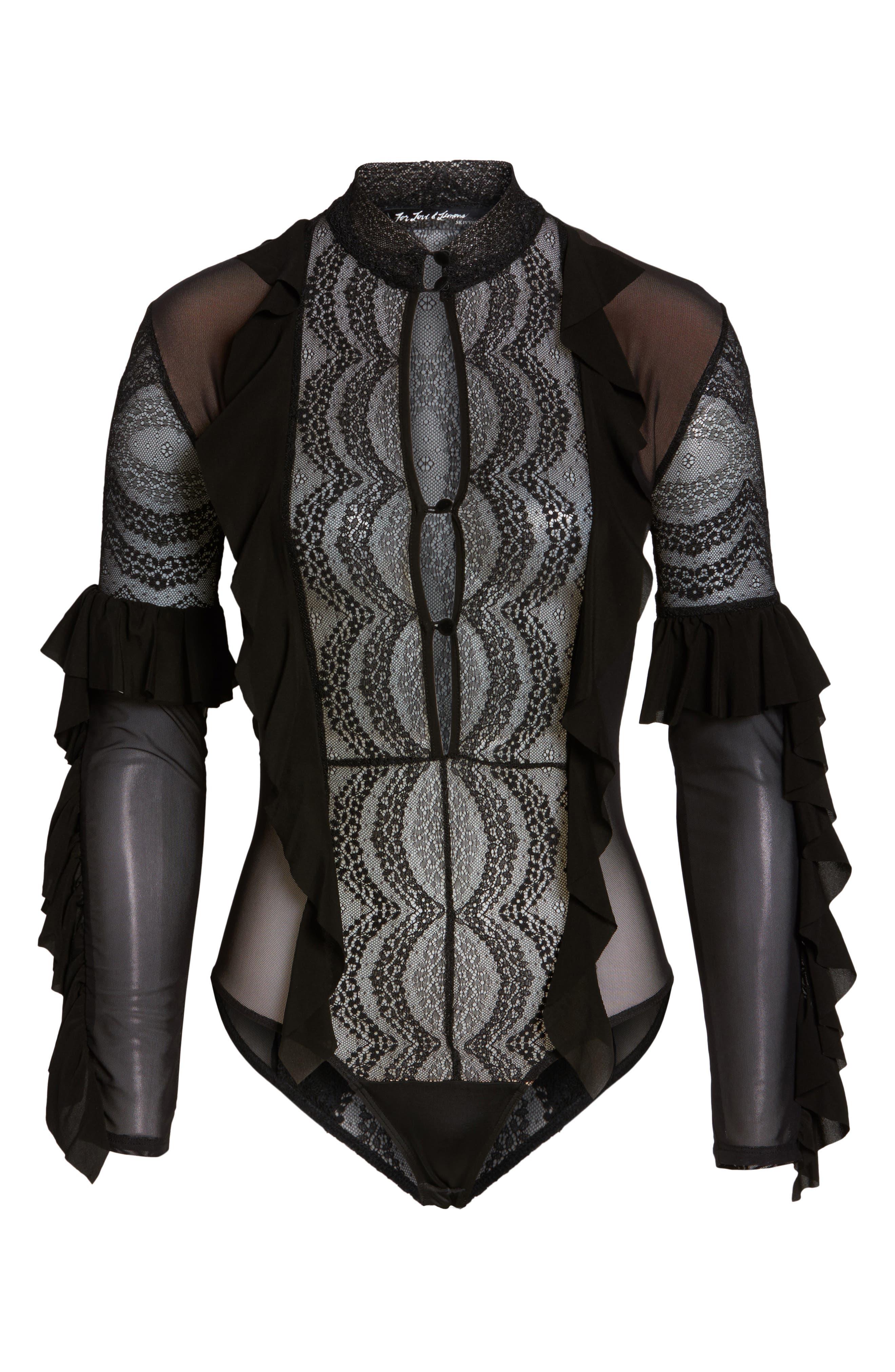 Eva Lace Ruffle Bodysuit,                             Alternate thumbnail 6, color,                             002