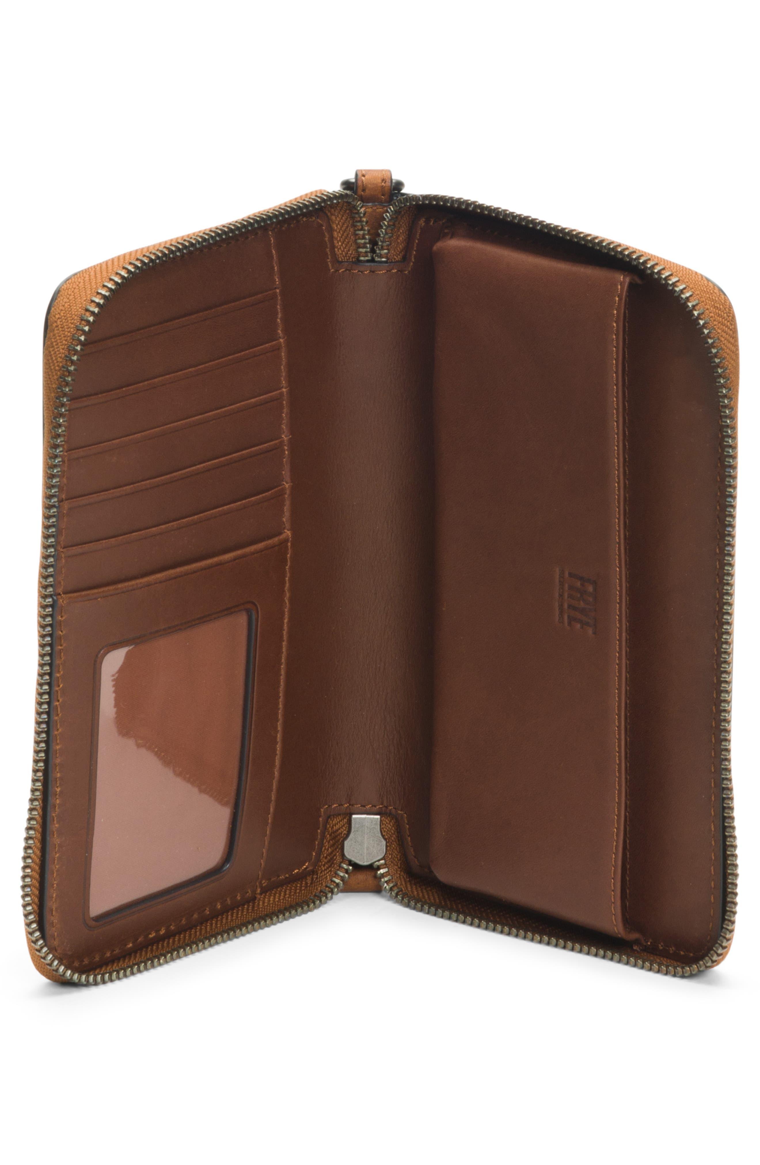 Melissa Large Leather Phone Wallet,                             Alternate thumbnail 4, color,                             COGNAC
