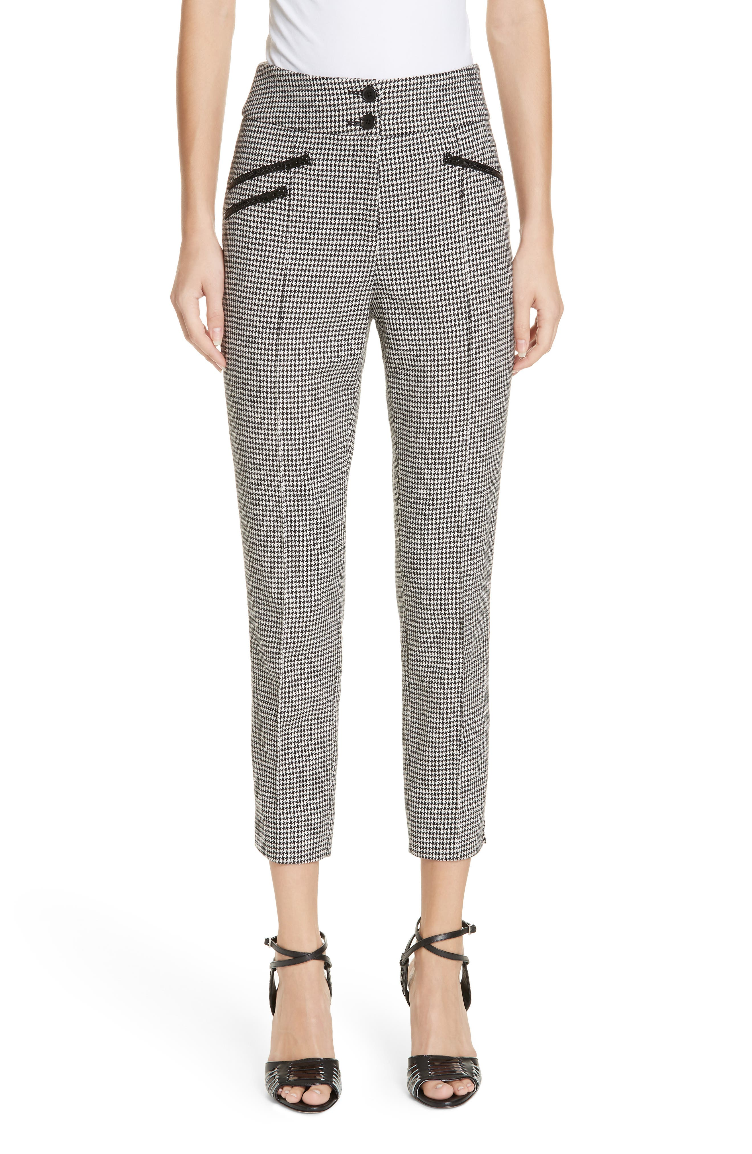 Felton Houndstooth Trousers,                         Main,                         color, BLACK/WHITE