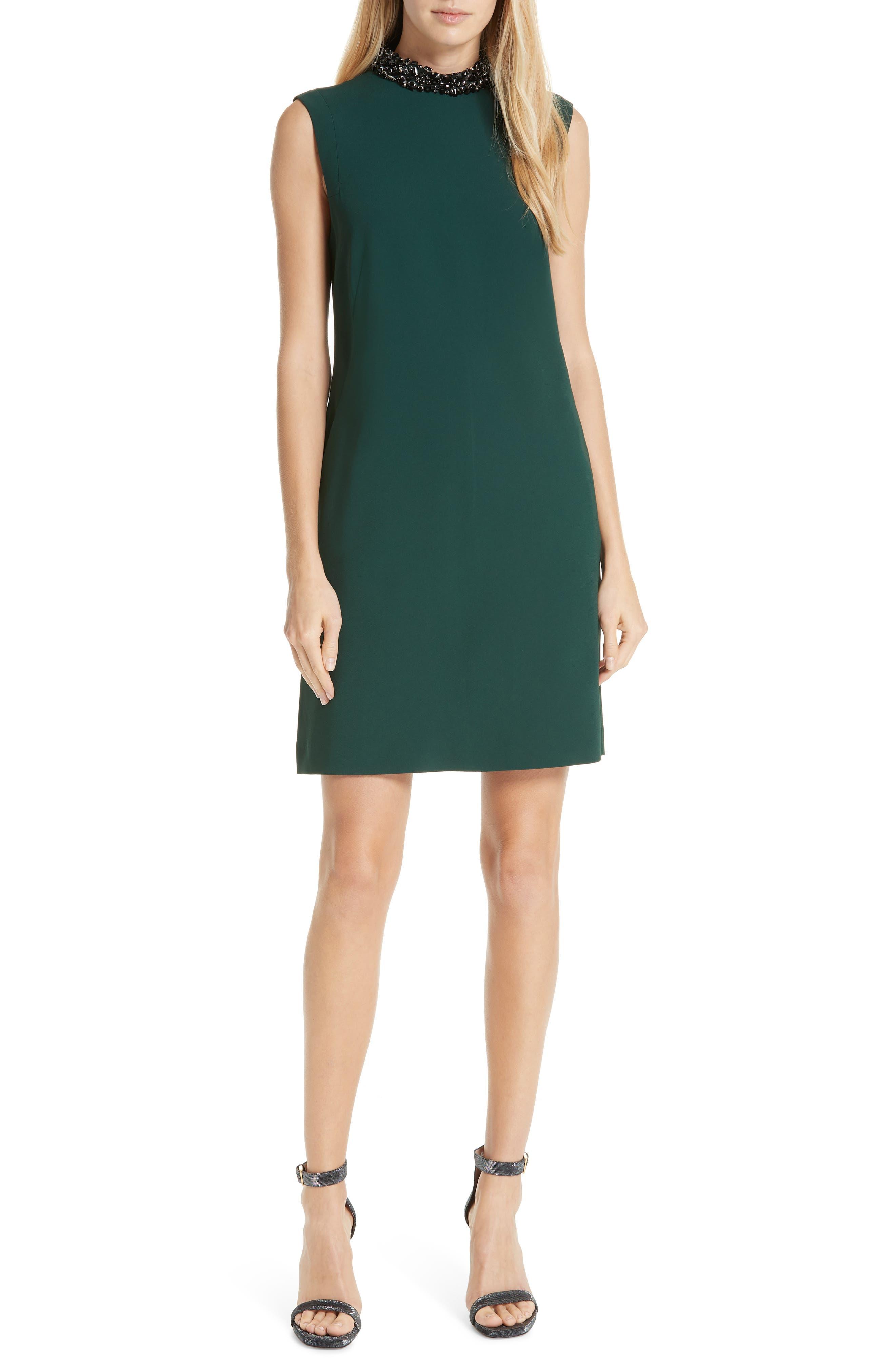 Verona Jewel Neck Dress,                             Main thumbnail 1, color,                             DK. GREEN