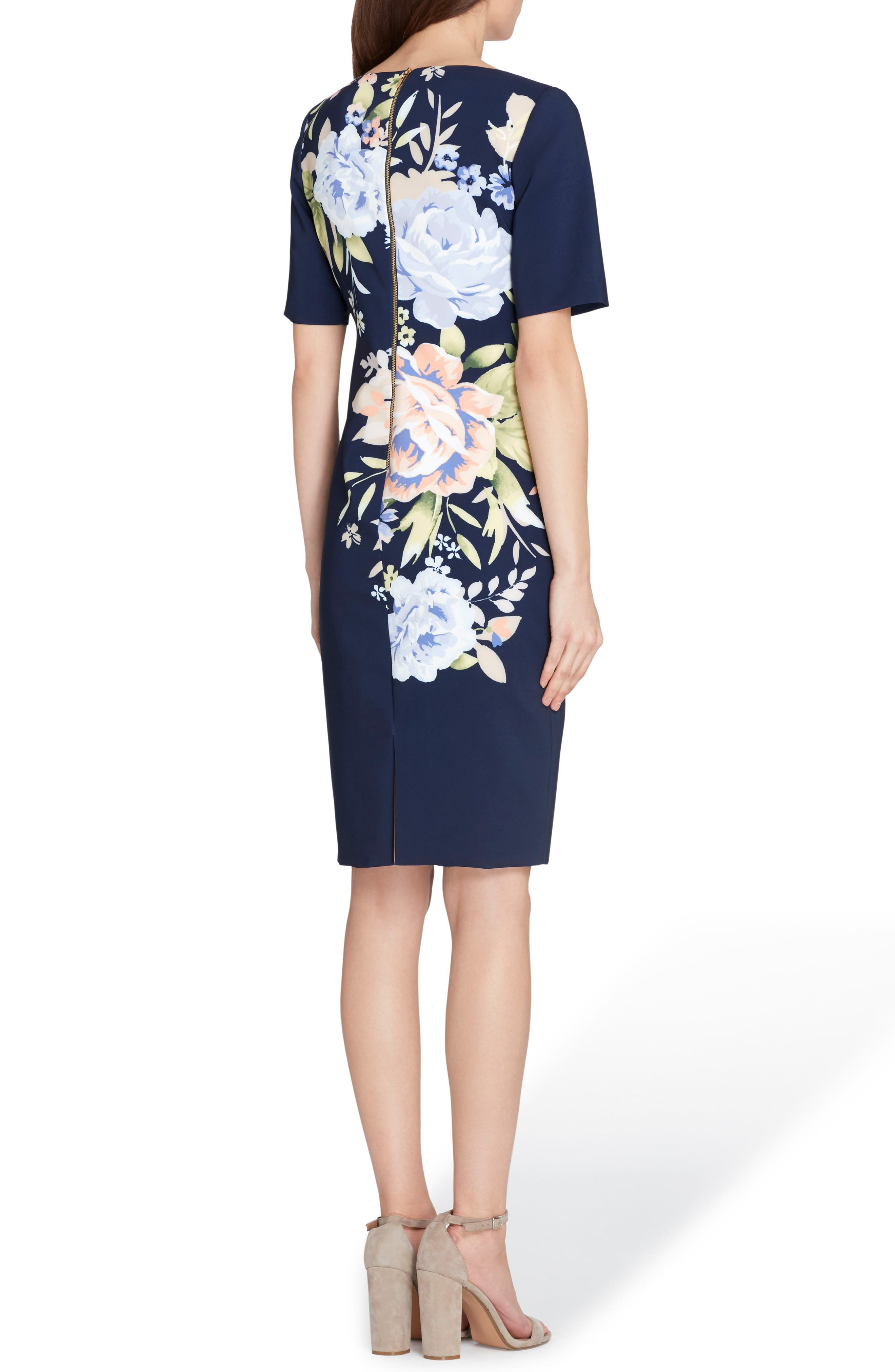 Floral Scuba Sheath Dress,                             Alternate thumbnail 2, color,                             497