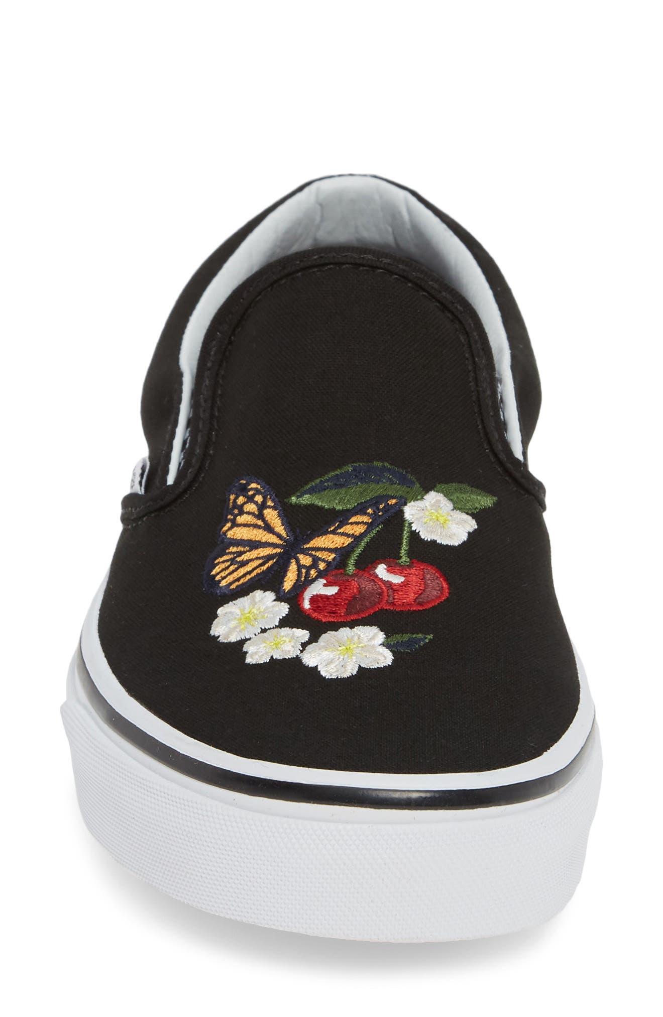 Classic Slip-On Sneaker,                             Alternate thumbnail 4, color,                             CHECKER FLORAL BLACK