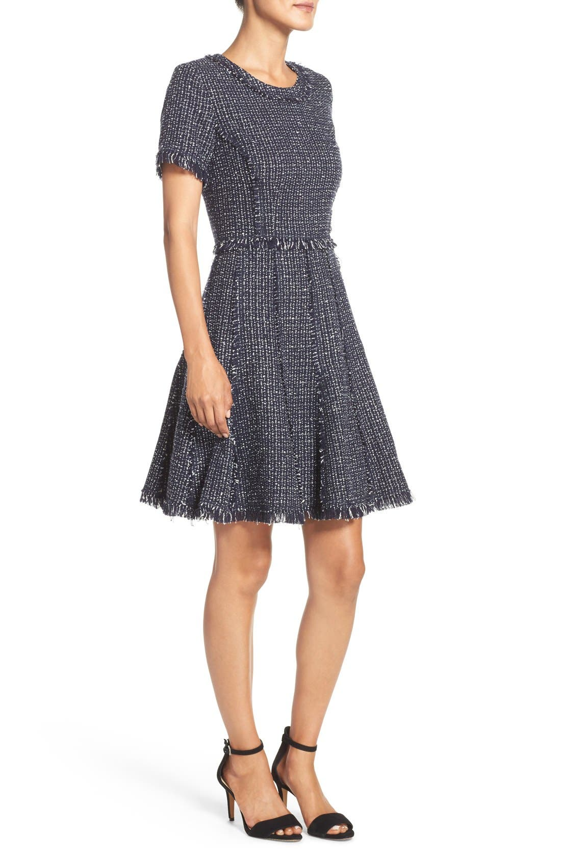 Tweed Fit & Flare Dress,                             Alternate thumbnail 5, color,