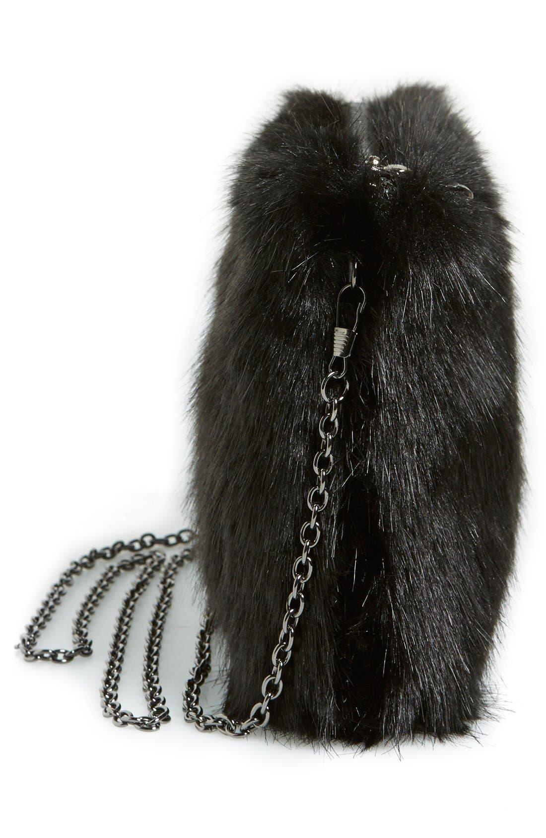 LA DOUBLE 7,                             No Brand Needed Faux Fur Convertible Clutch,                             Alternate thumbnail 4, color,                             001