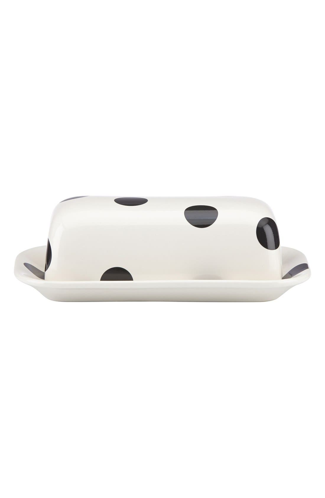 'all in good taste' 'deco dot' covered butter dish, Main, color, 100