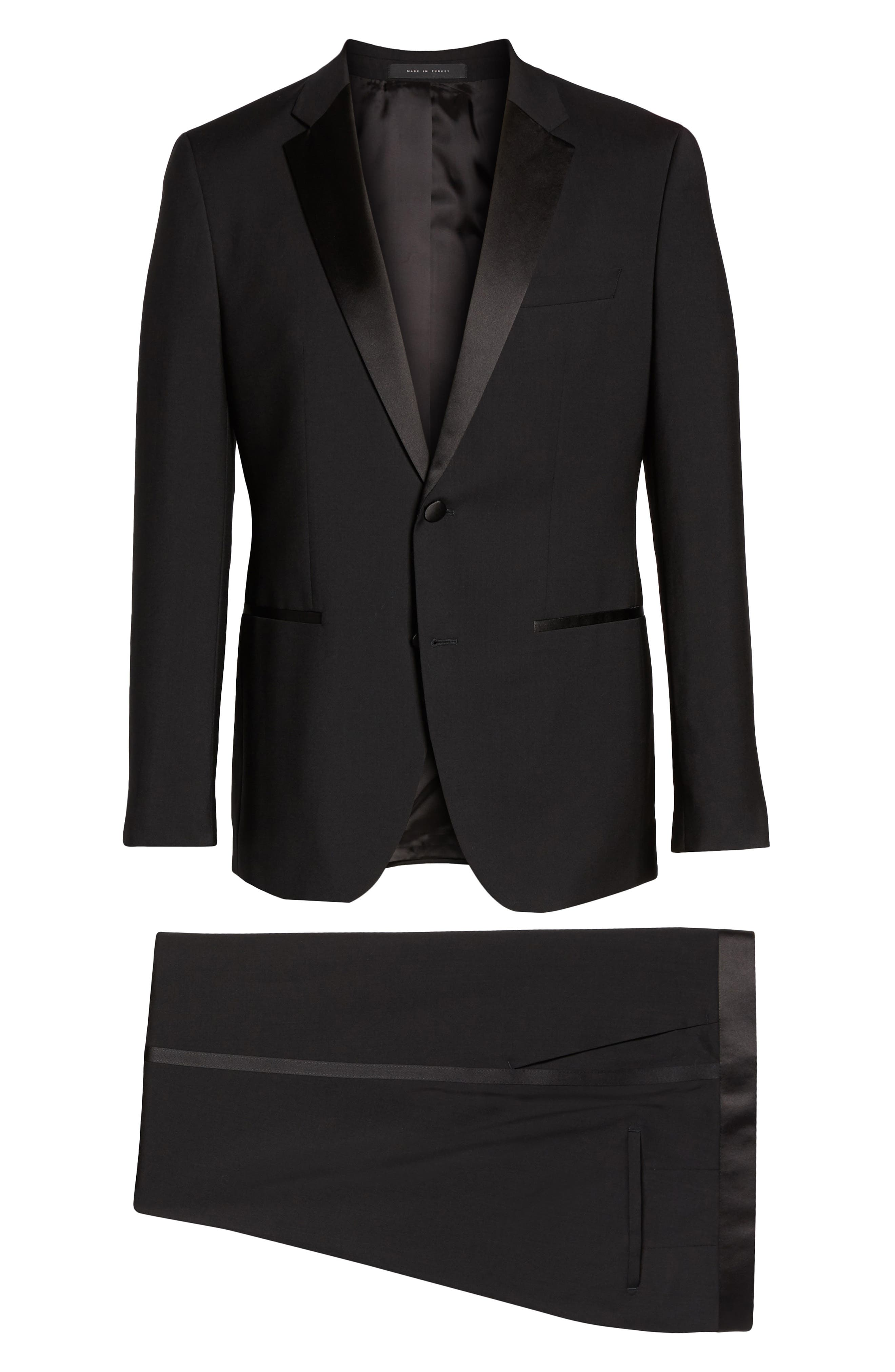 BOSS,                             The Stars/Glamour Trim Fit Wool Tuxedo,                             Alternate thumbnail 8, color,                             001