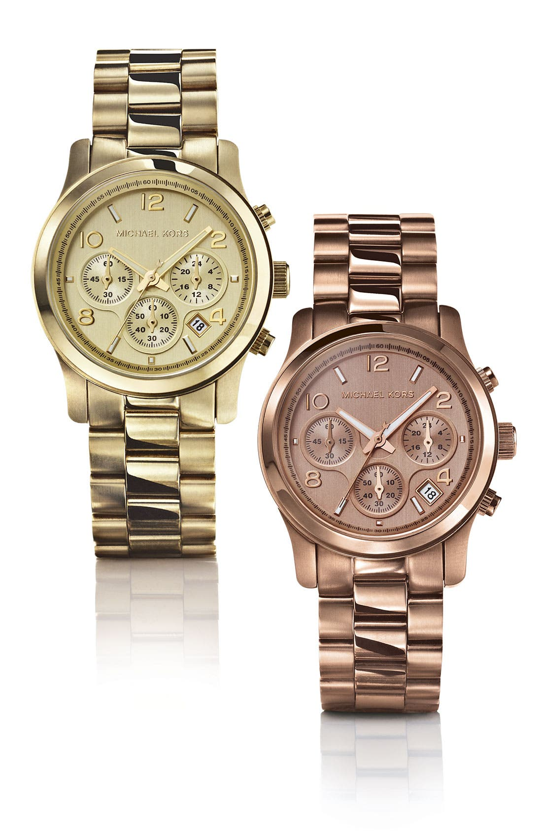 MICHAEL MICHAEL KORS,                             Michael Kors 'Runway' Rose Gold Plated Watch, 37mm,                             Alternate thumbnail 4, color,                             710