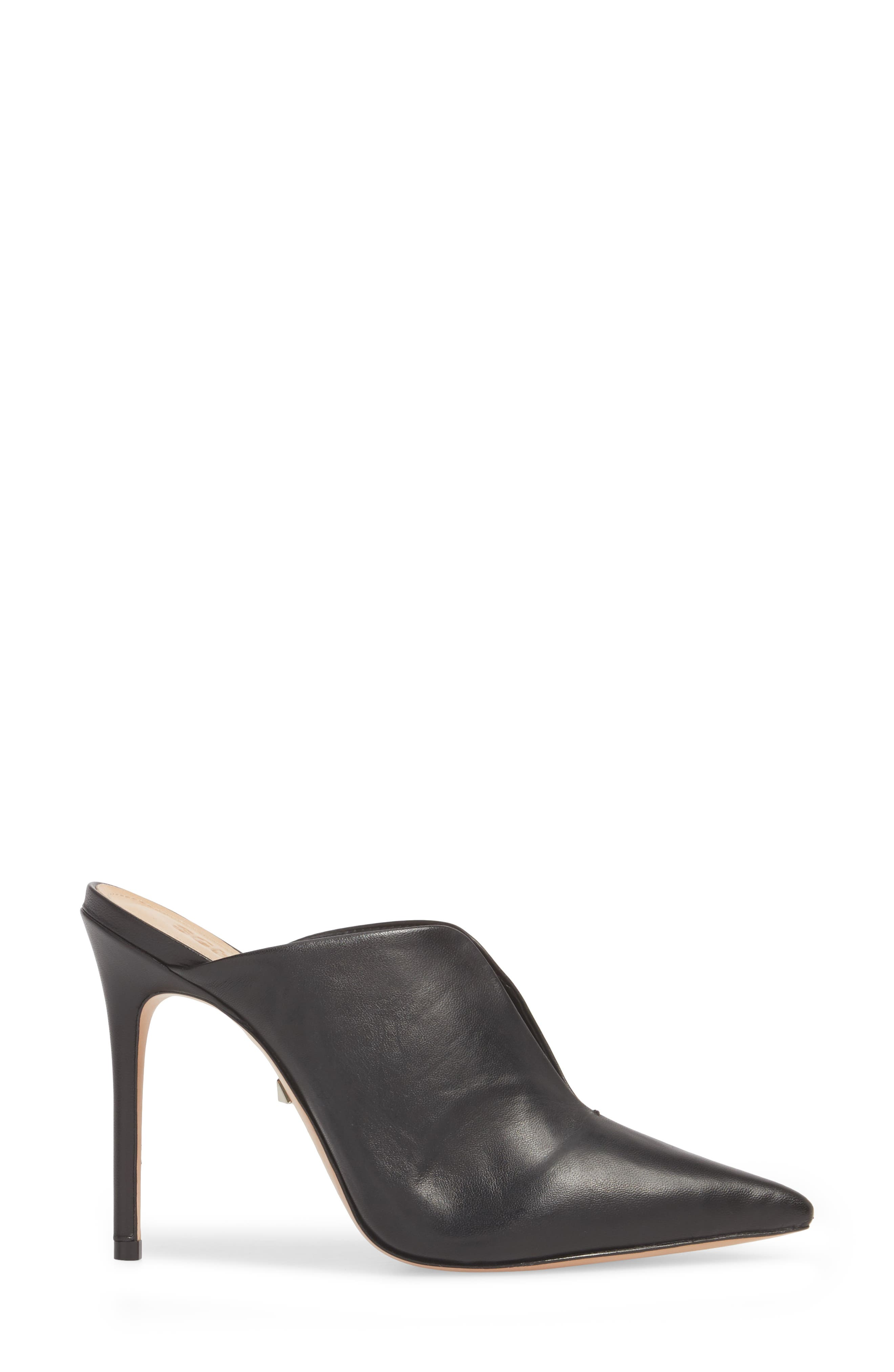 Docia Mule,                             Alternate thumbnail 3, color,                             BLACK LEATHER